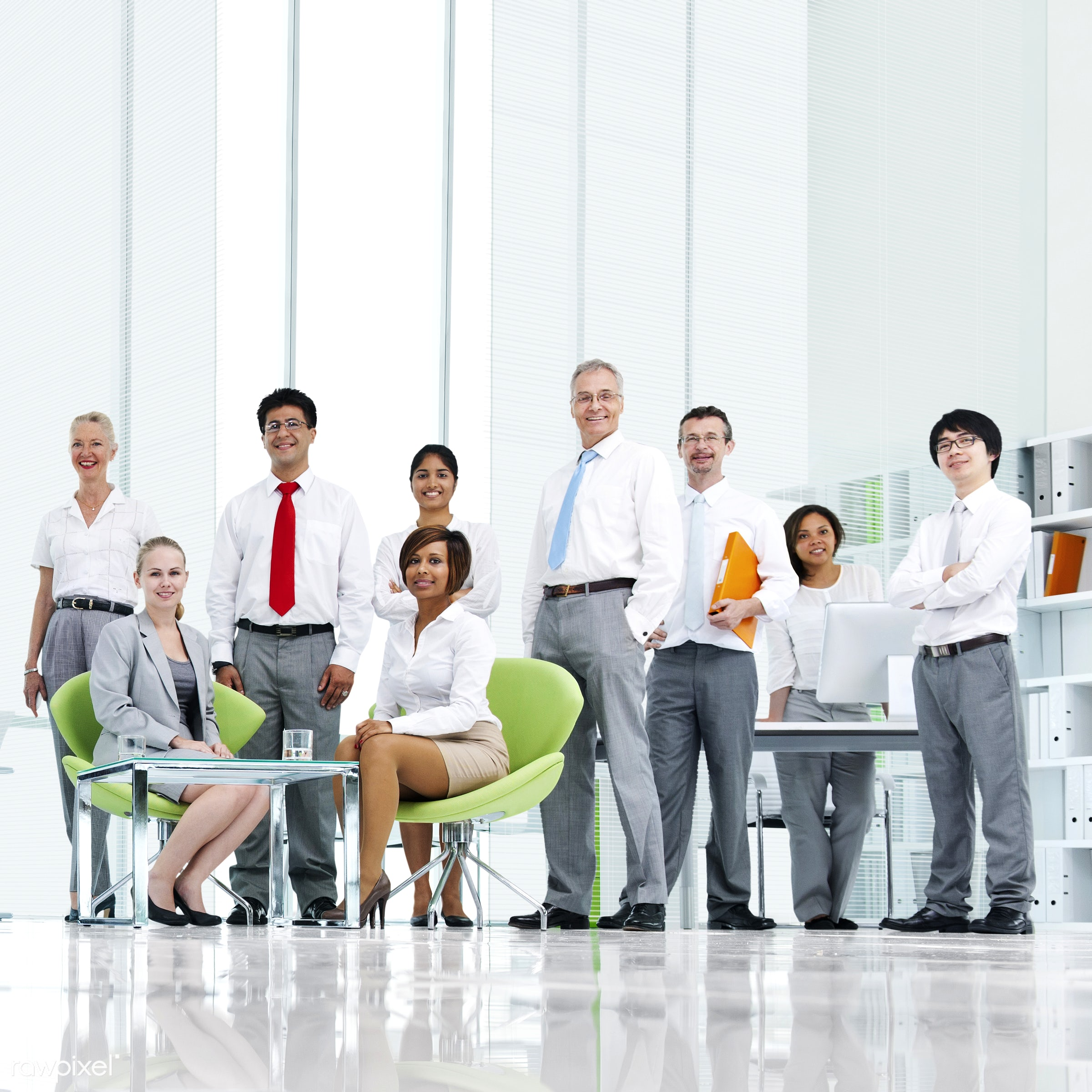 Corporate business people in an office - african descent, asian ethnicity, board room, business, business people,...