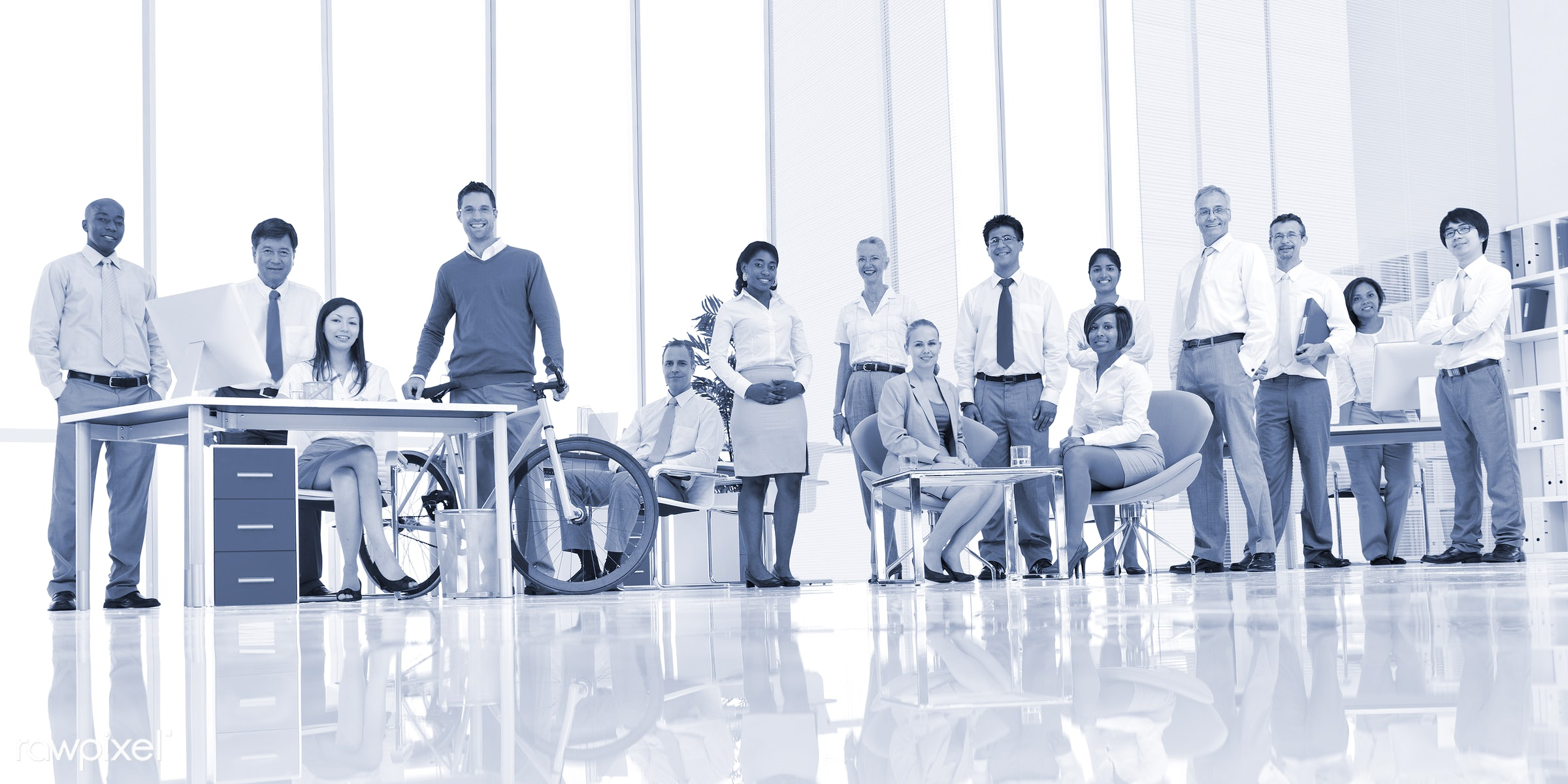 Business people working in a green office - african descent, asian ethnicity, assistant, bicycle, board room, business,...
