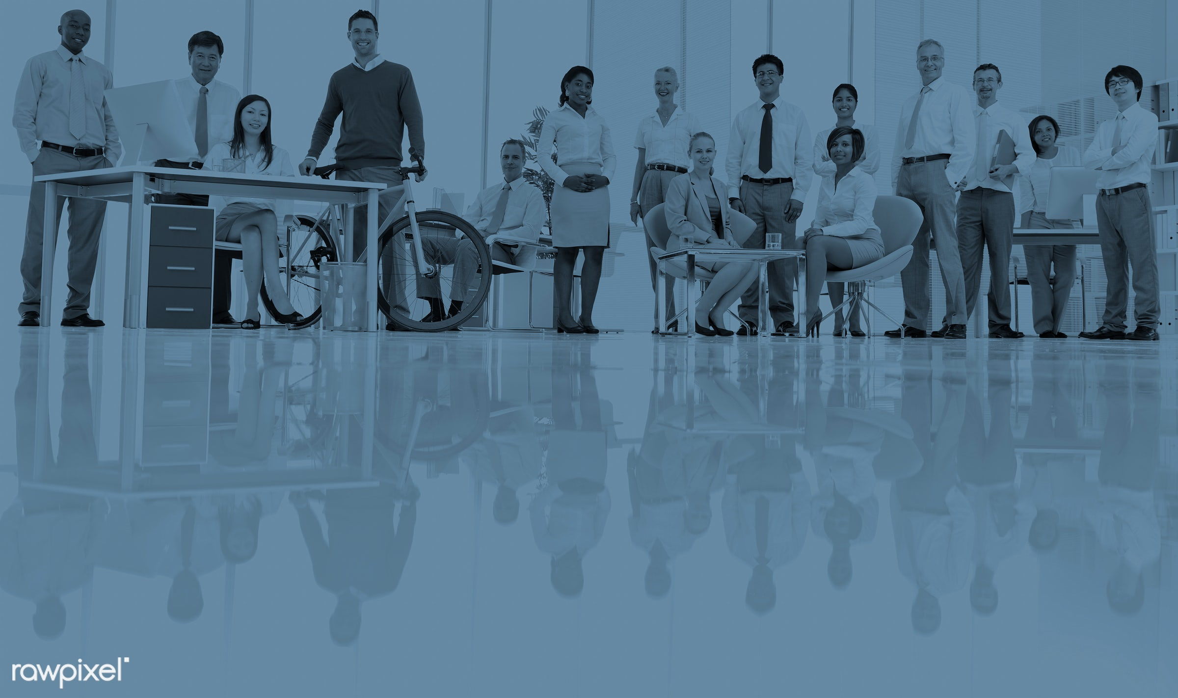 Business people working in a green office - bicycle, african descent, asian ethnicity, board room, business, business people...