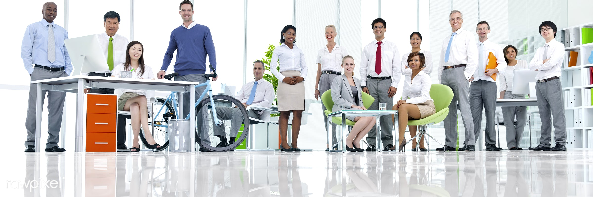 Business people working in a green office - assistant, african descent, asian ethnicity, bicycle, board room, business,...