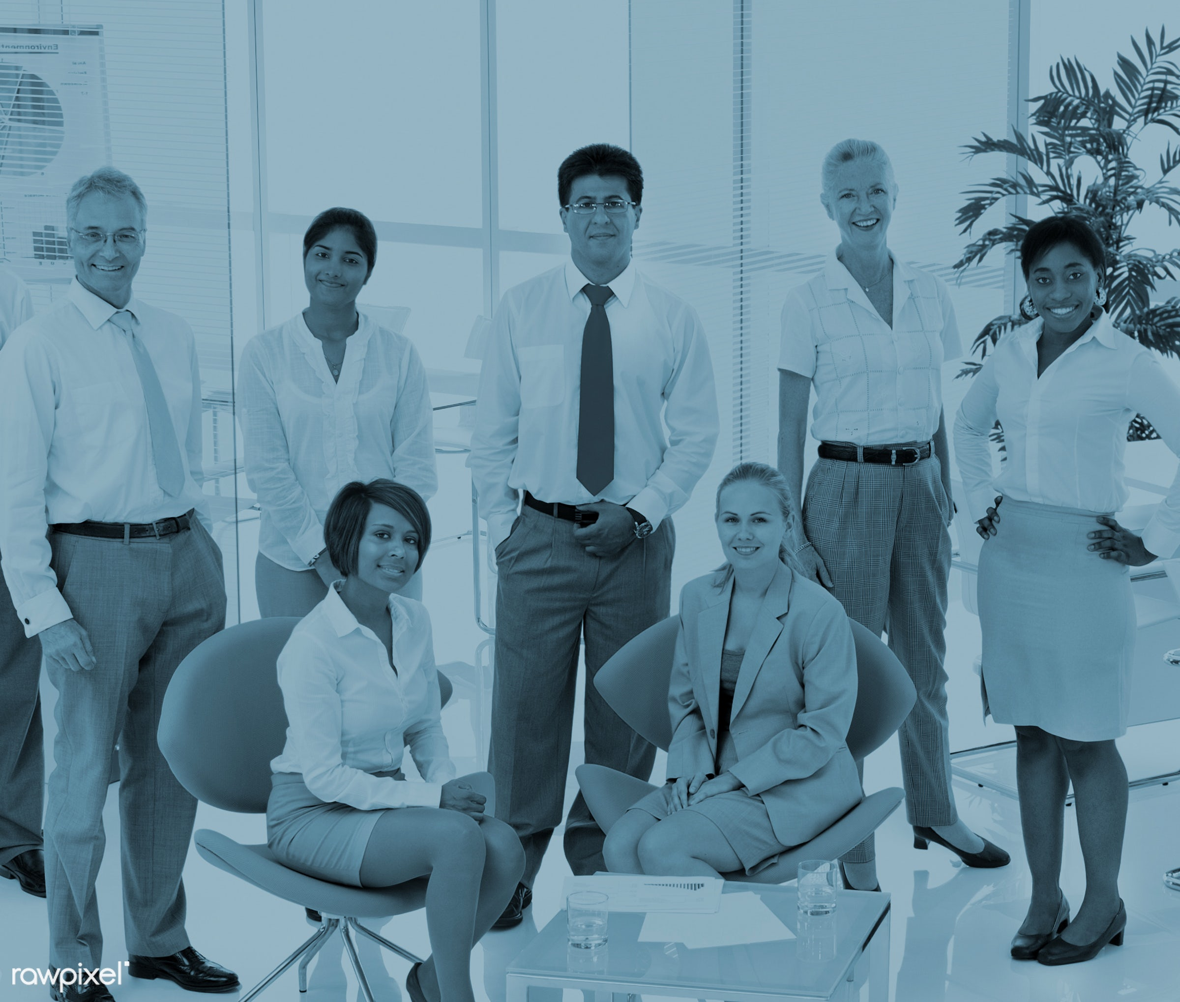 Business people working in a green office - business, conference, corporate, meeting, african descent, asian ethnicity,...