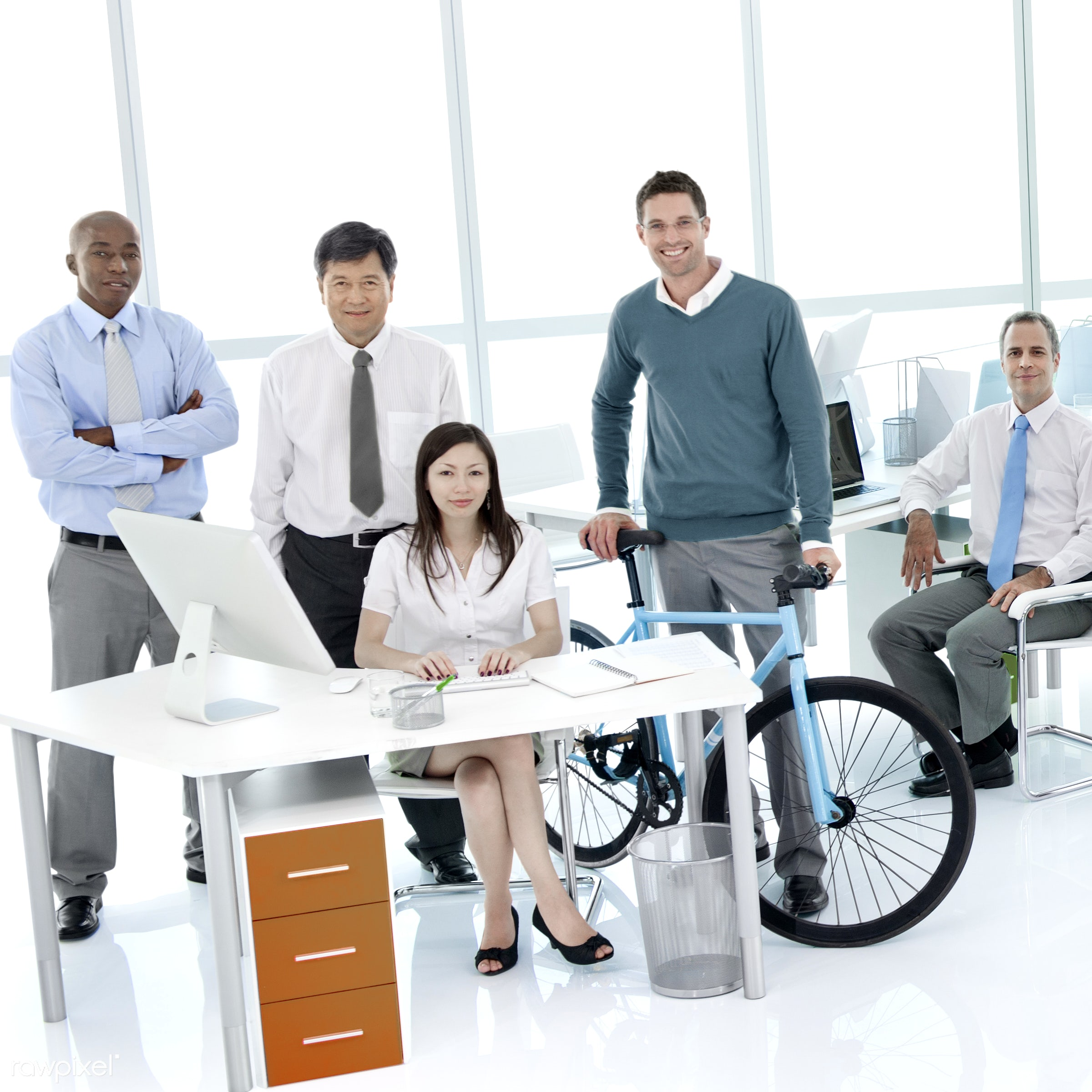 Business people working in a green office - office, african descent, asian ethnicity, bicycle, board room, business,...
