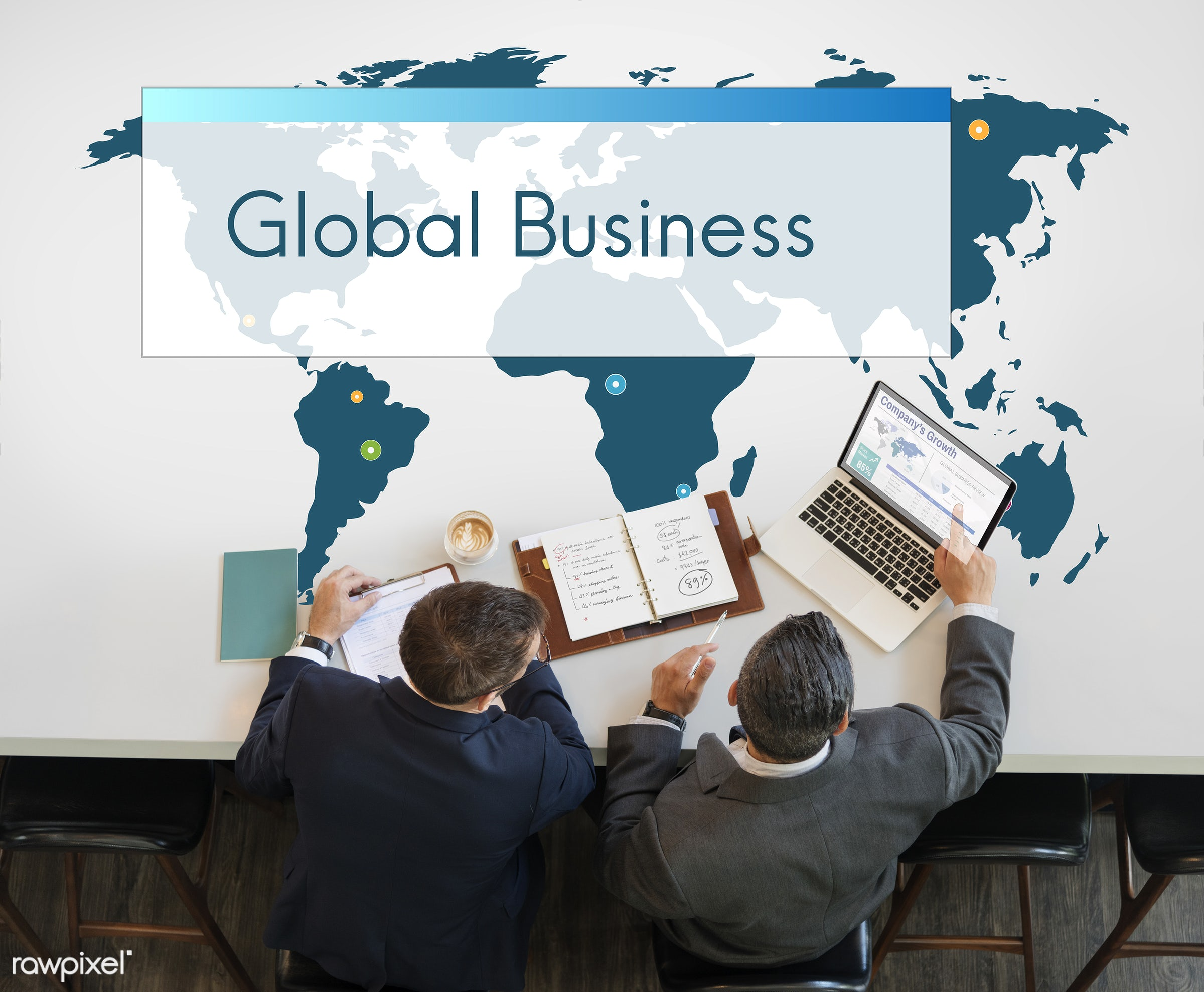 Global business - awareness, business, business improvement, businessman, businessmen, businessperson, calculator,...