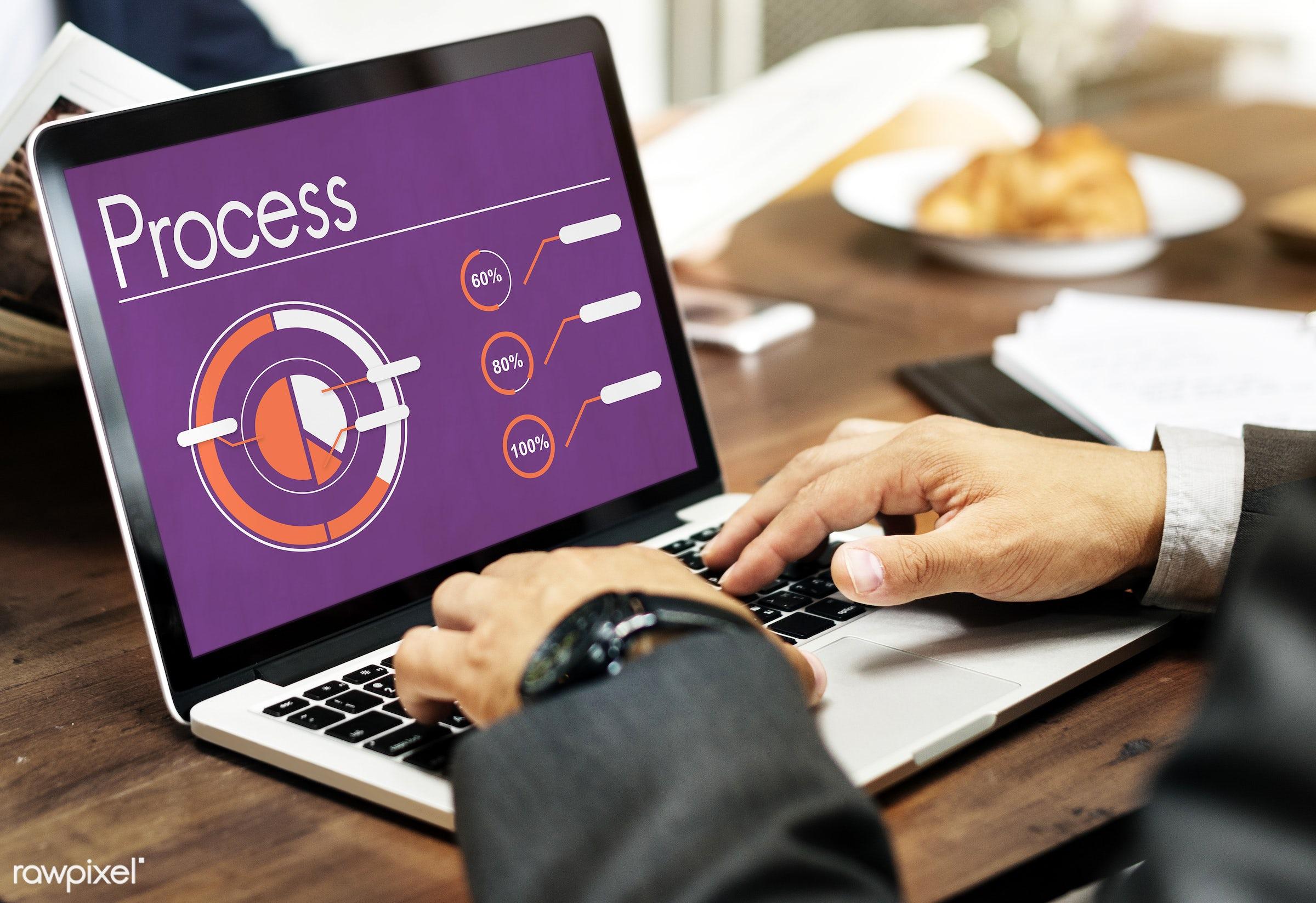 achievement, analysis, browse, business, business plan, businessman, cafe, chart, corporate, development, device, digital...