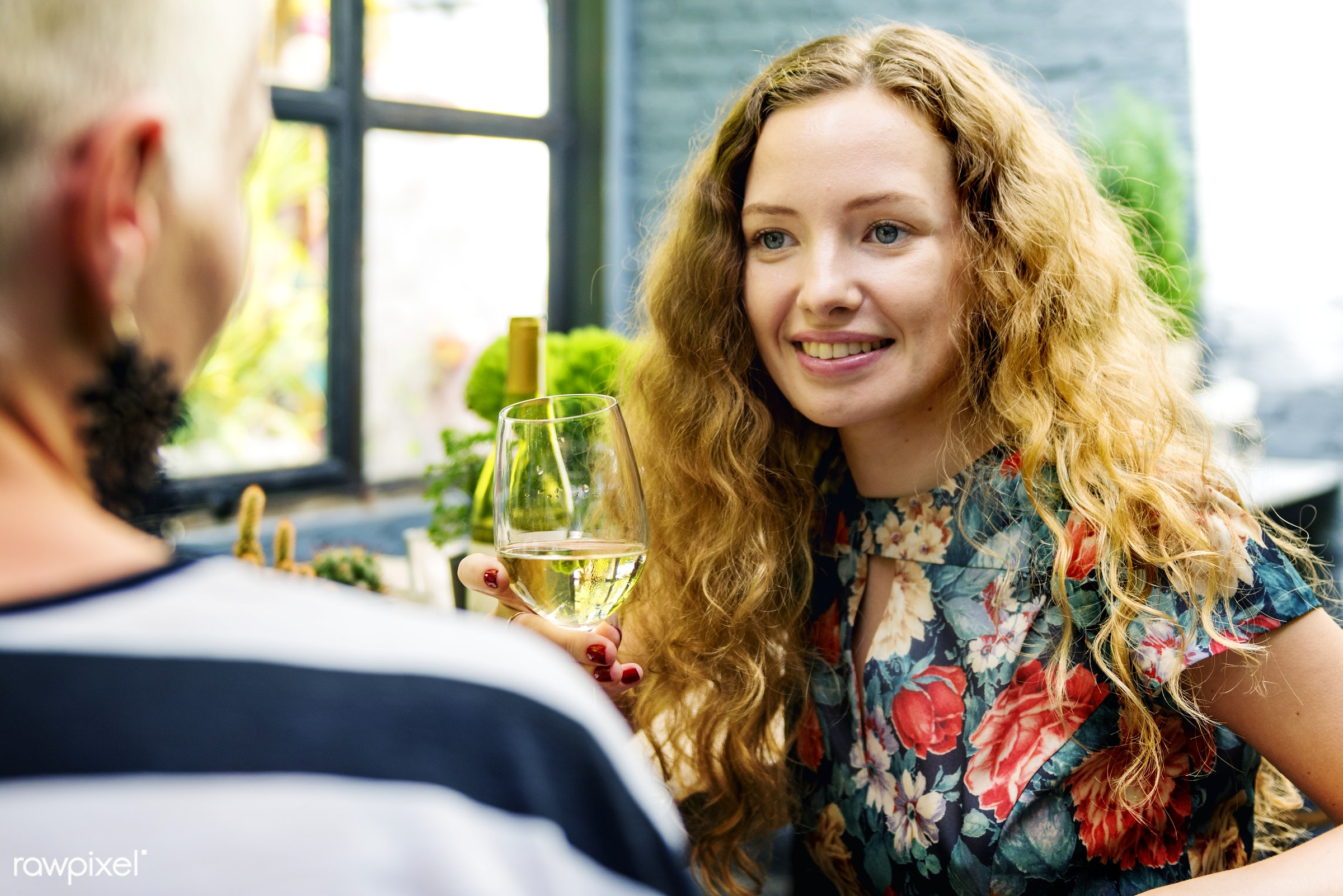 Women having wine together - adult, bonding, bright, brunch, cafe, casual, celebration, cheerful, cheers, connection, day,...