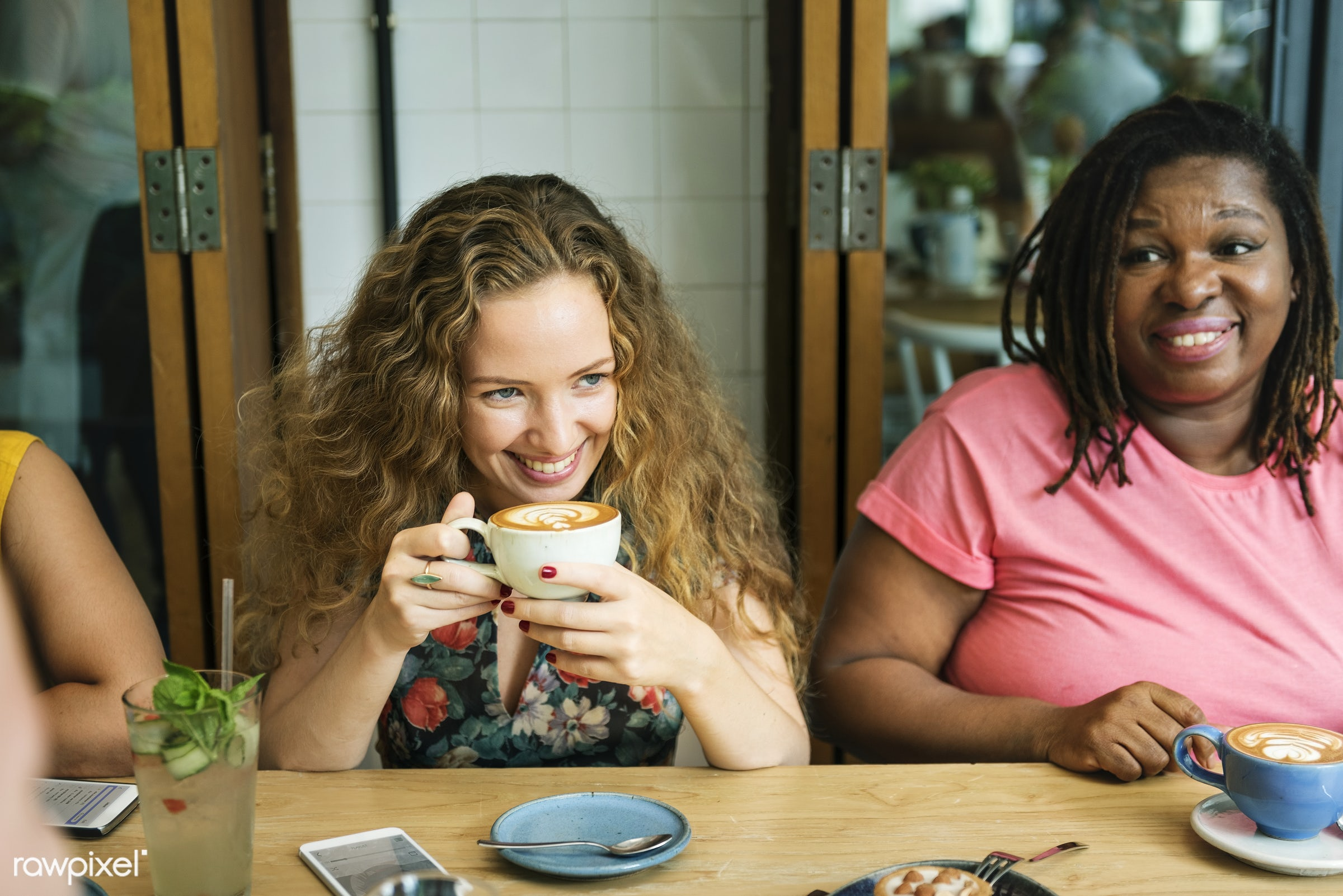african descent, afternoon tea, bonding, bright, cafe, casual, cheerful, coffee, coffee break, coffee shop, coffee time,...