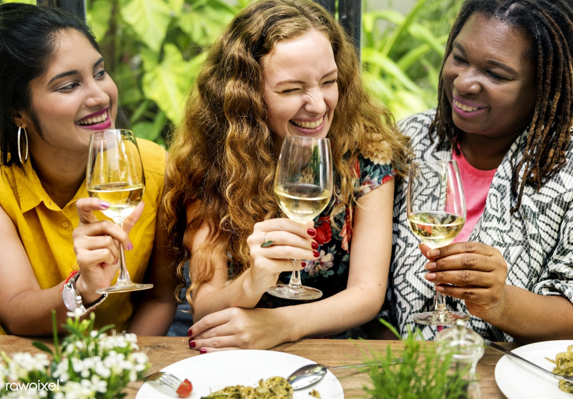 Women having wine together - wine, adult, african, african descent, black, bonding, bright, brunch, cafe, casual,...