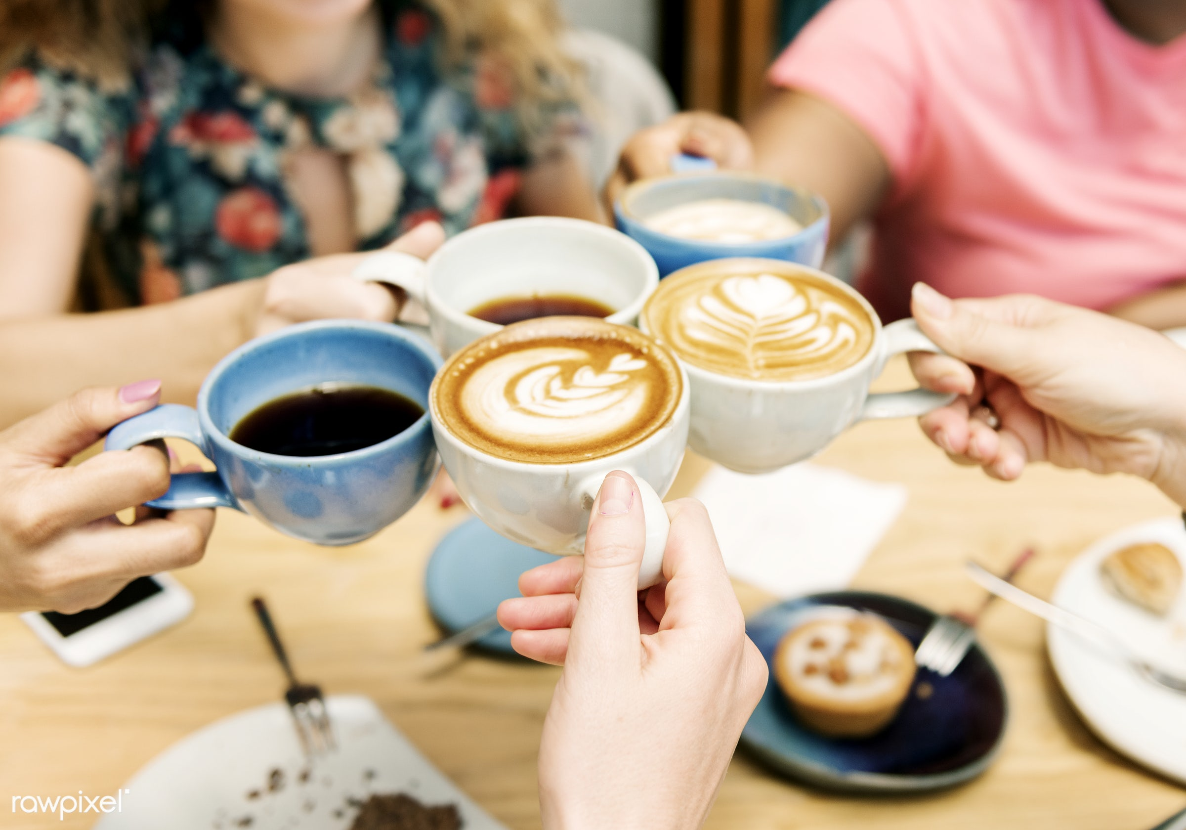 Friends having coffee together - espresso, tea, background, beverage, cafe, cake, cappuccino, cheers, closeup, coffee,...