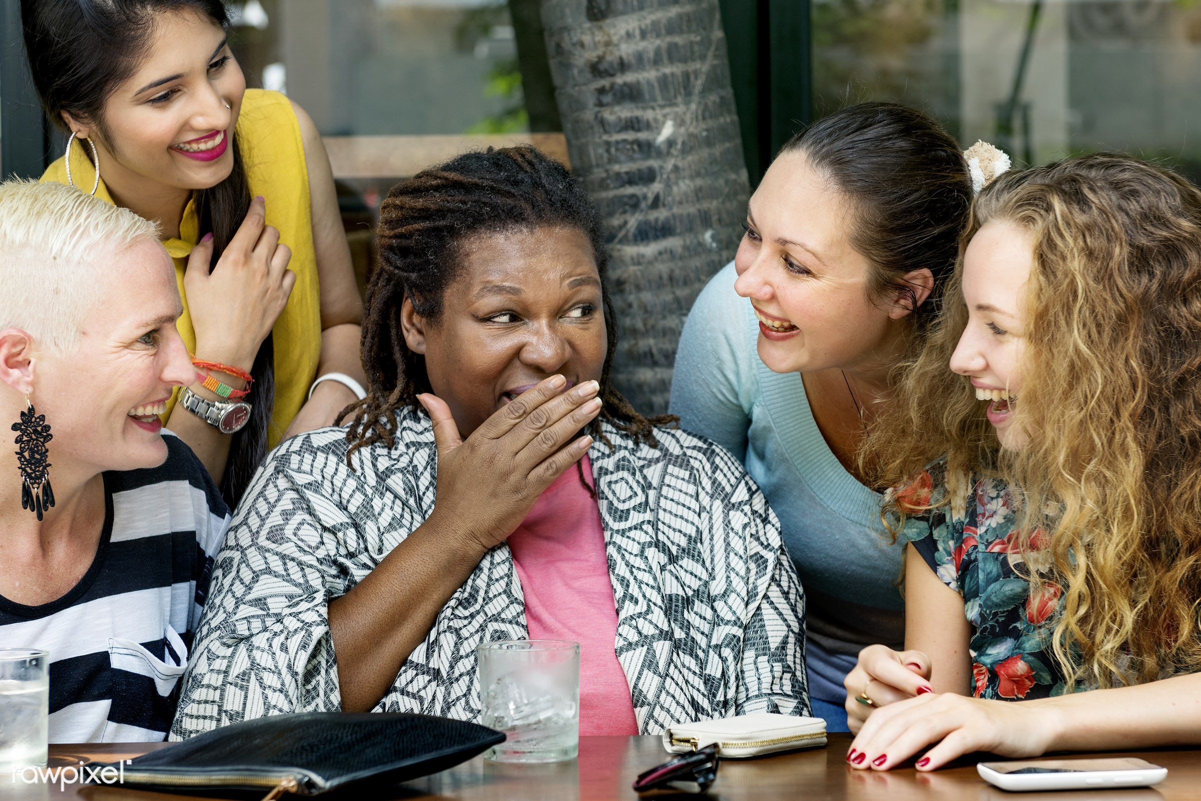 gossip, adult, african, cafe, carefree, casual, caucasian, chatting, cheerful, communication, conversation, discussion,...