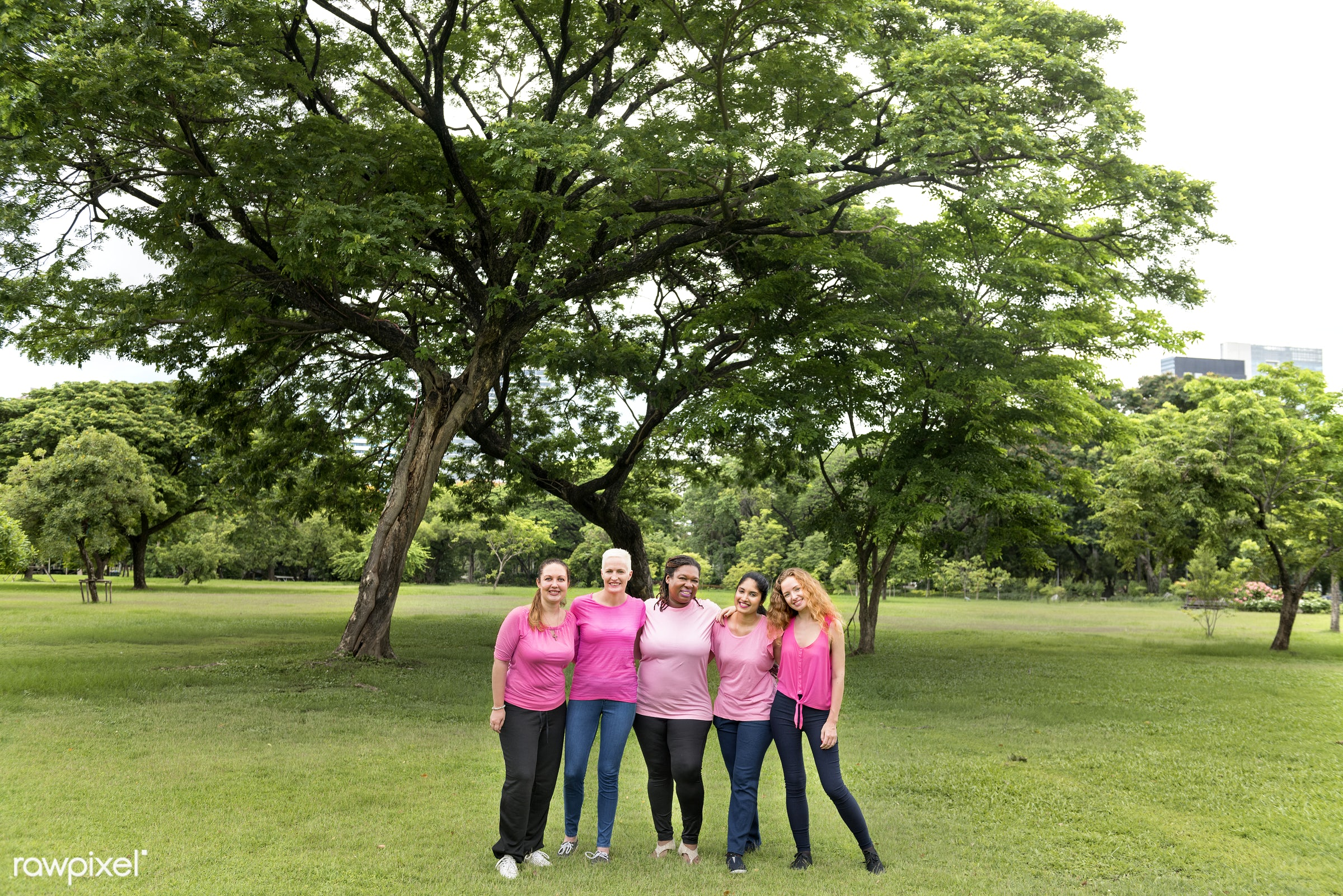 Women wearing pink for breast cancer awareness - health, adult, african, awareness, beautiful, breast, breast cancer,...