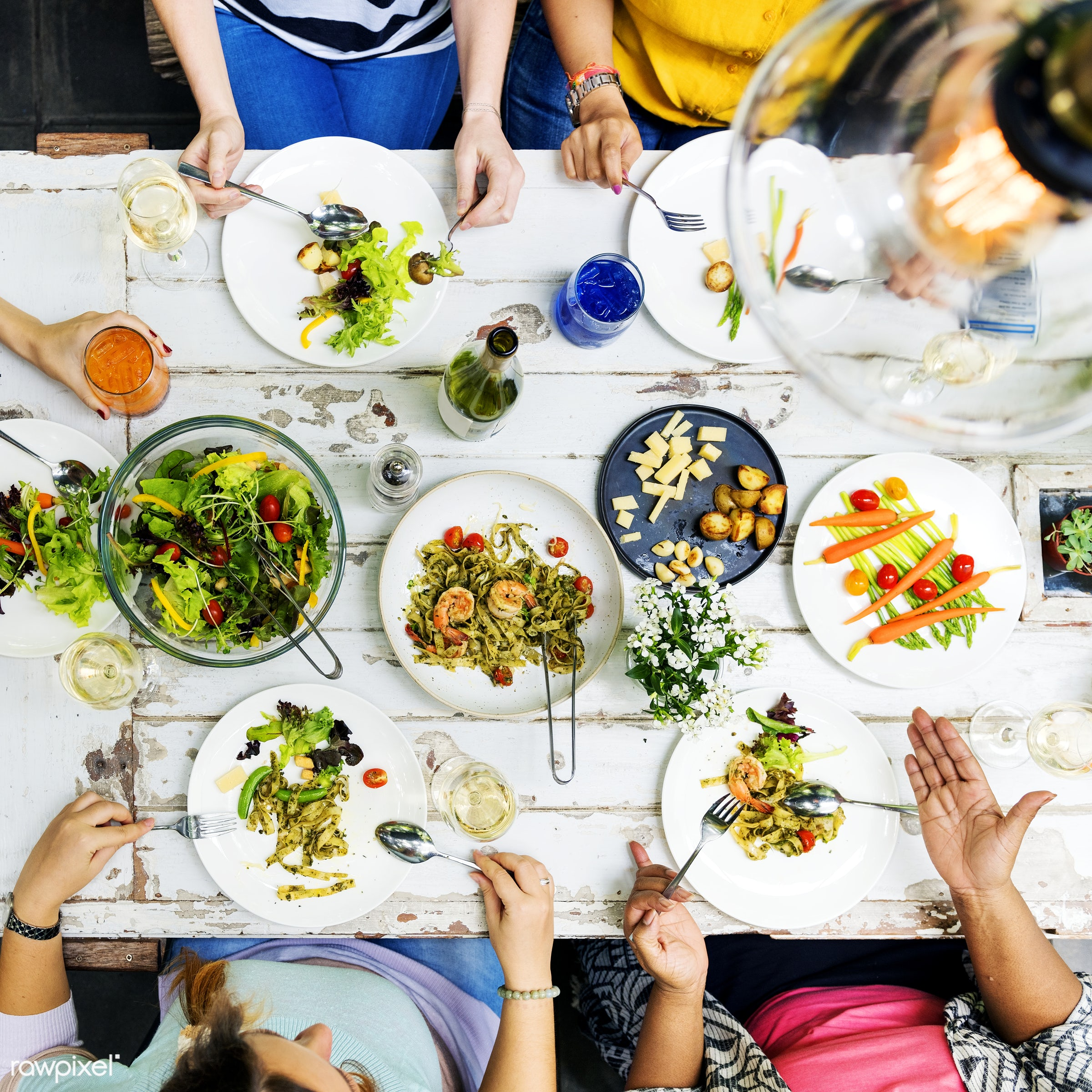 Woman having a dinner party - salad, table, asian, brunch, caucasian, celebration, champagne, cheerful, communication,...
