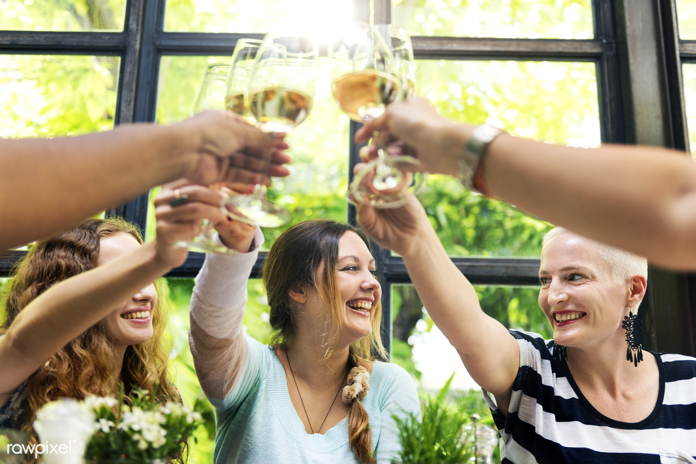Women at a dinner party - summer, alcohol, african, asian, brunch, caucasian, celebration, champagne, cheerful, cheering,...