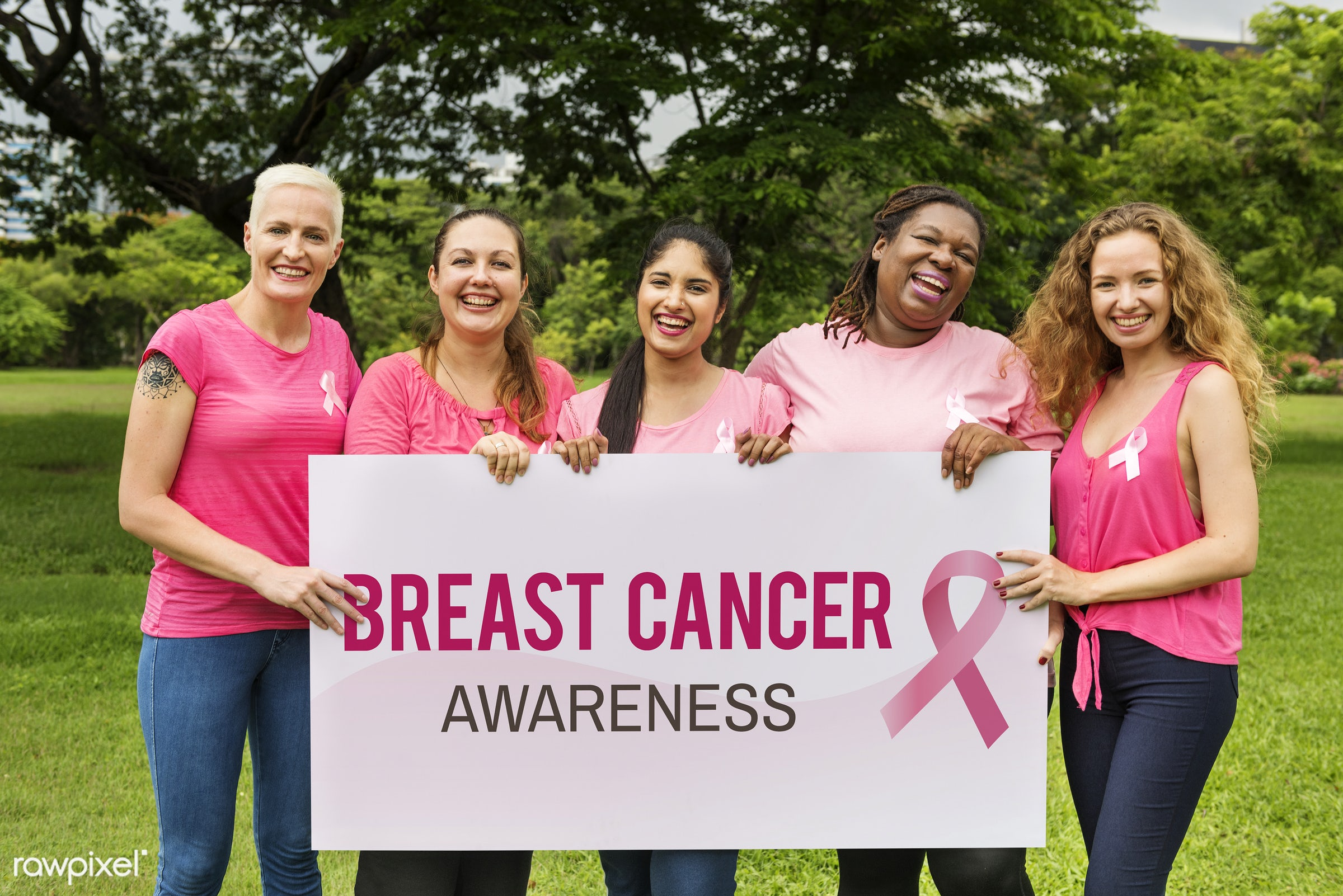 Women wearing pink for breast cancer awareness - breast cancer, pink, ribbon, adult, african, awareness, beautiful, board,...