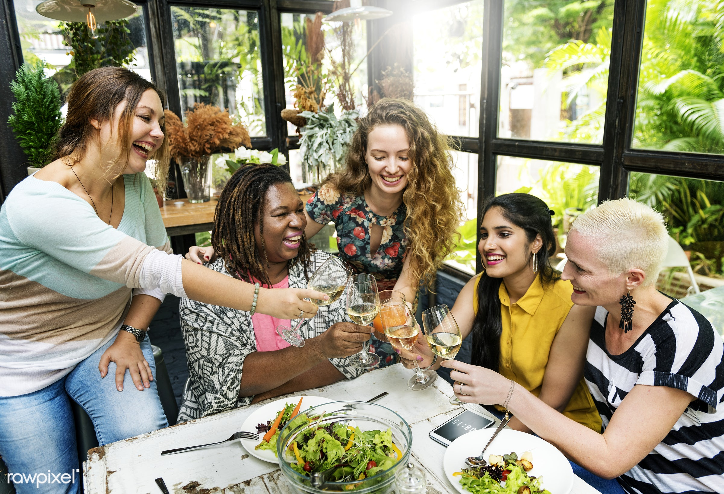 adult, african descent, bonding, bright, brunch, cafe, casual, celebration, cheerful, cheers, connection, day, dining,...