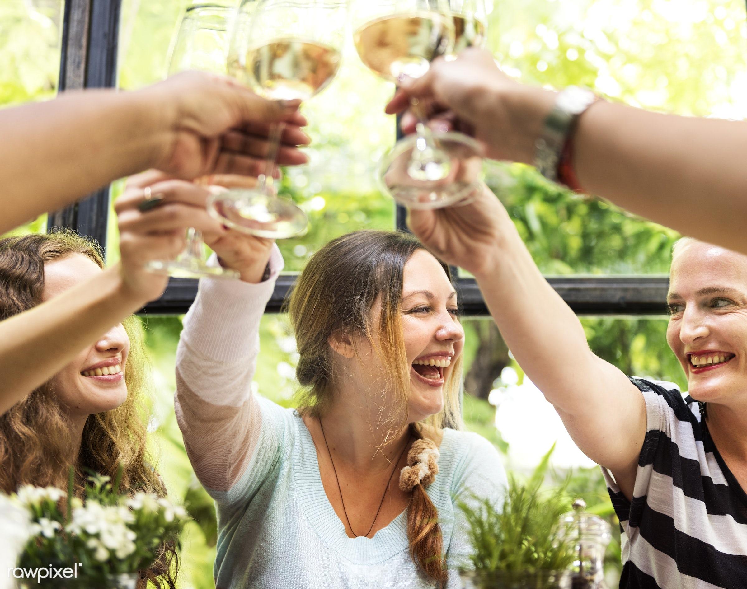 Women celebrating with wine - adult, african descent, bonding, bright, brunch, cafe, casual, celebrating, celebration,...