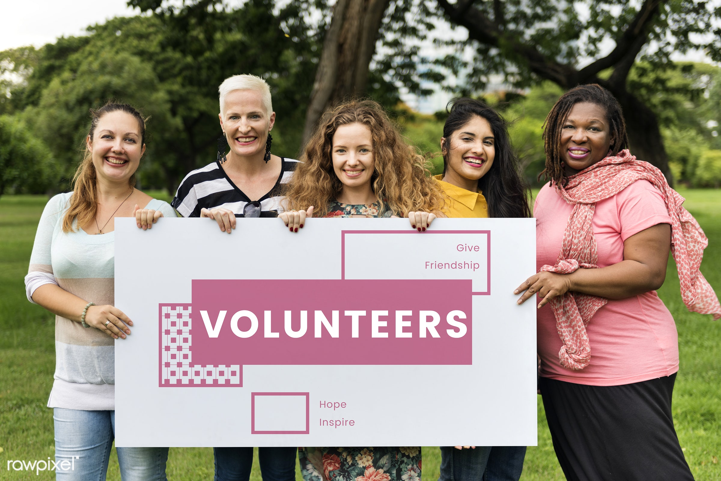 Women volunteers - happy, donate, happiness, adult, card, cares, community, community service, cooperation, diversity,...