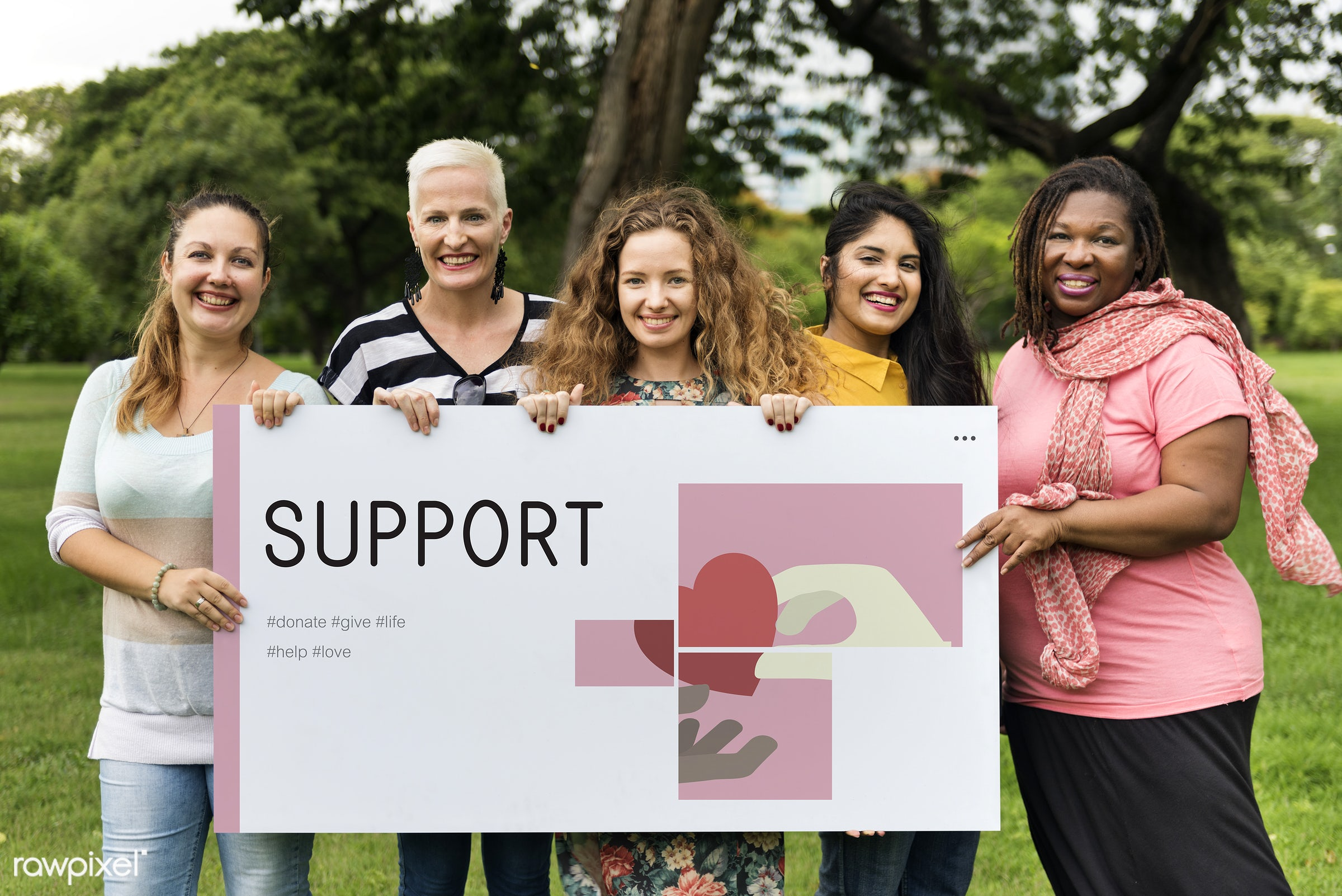 Women support group - charity, adult, campaign, card, cares, community, cooperation, diversity, donations, endowment, female...