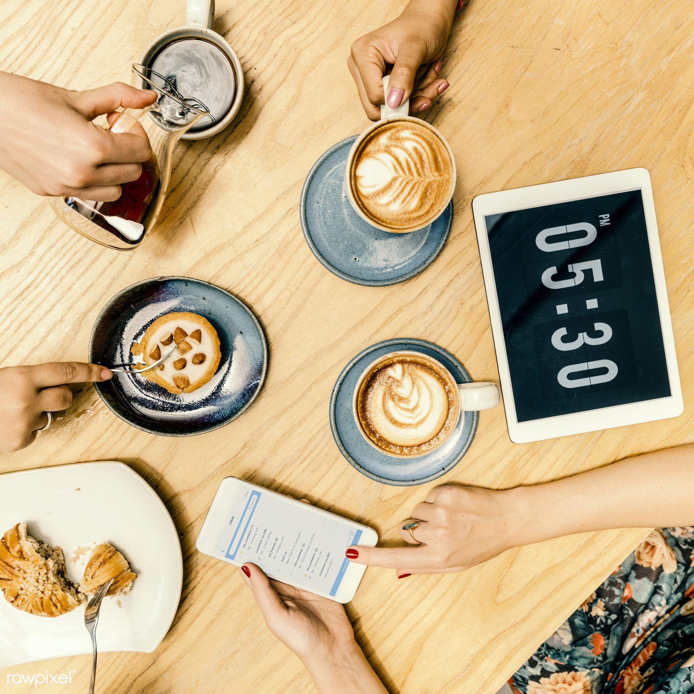 application, beverage, browsing, cafe, cake, cappuccino, closeup, coffee, cup, dessert, device, digital, dish, drinking,...