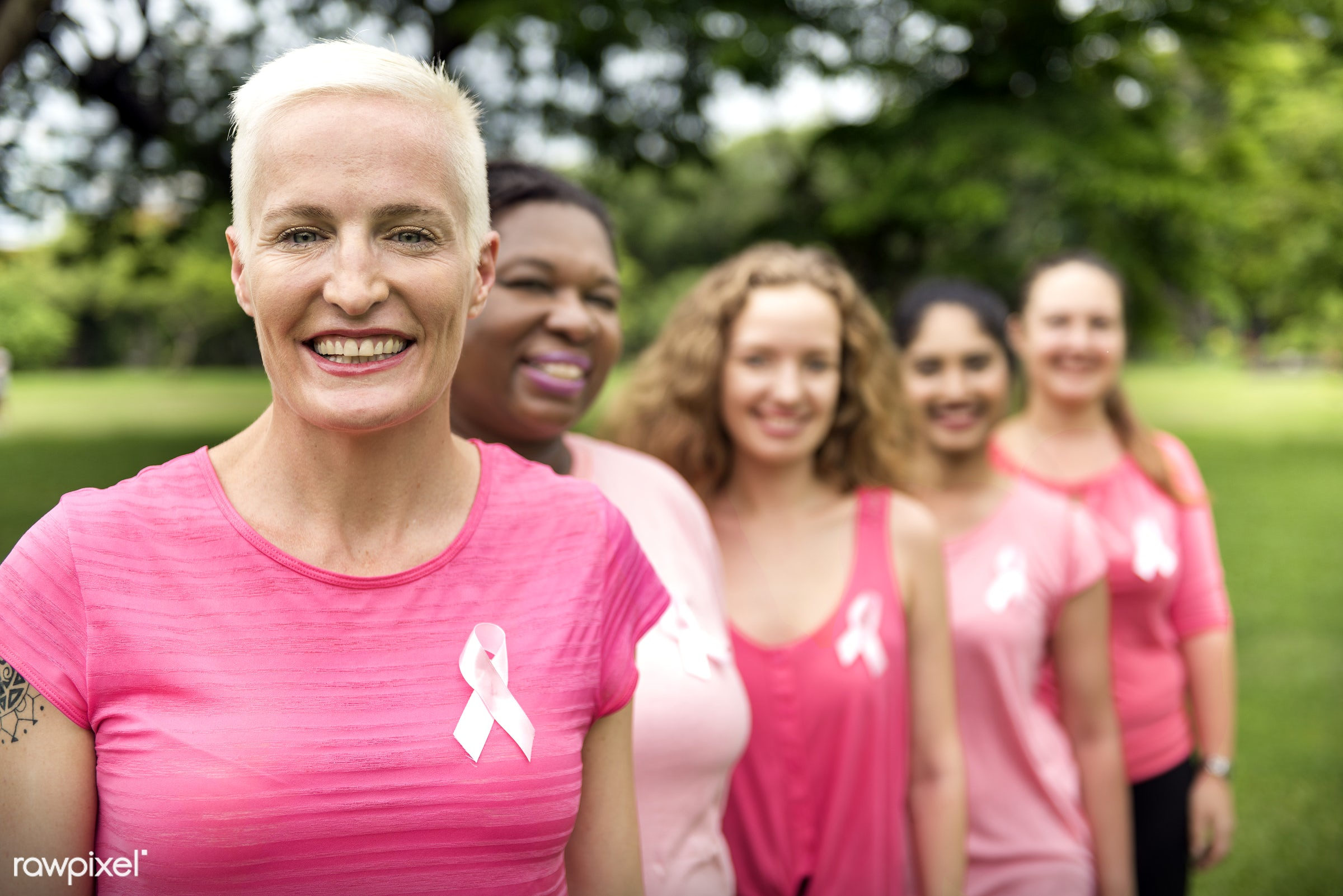 Women fighting breast cancer - girl power, adult, african, awareness, beautiful, breast, breast cancer, campaign, cancer,...