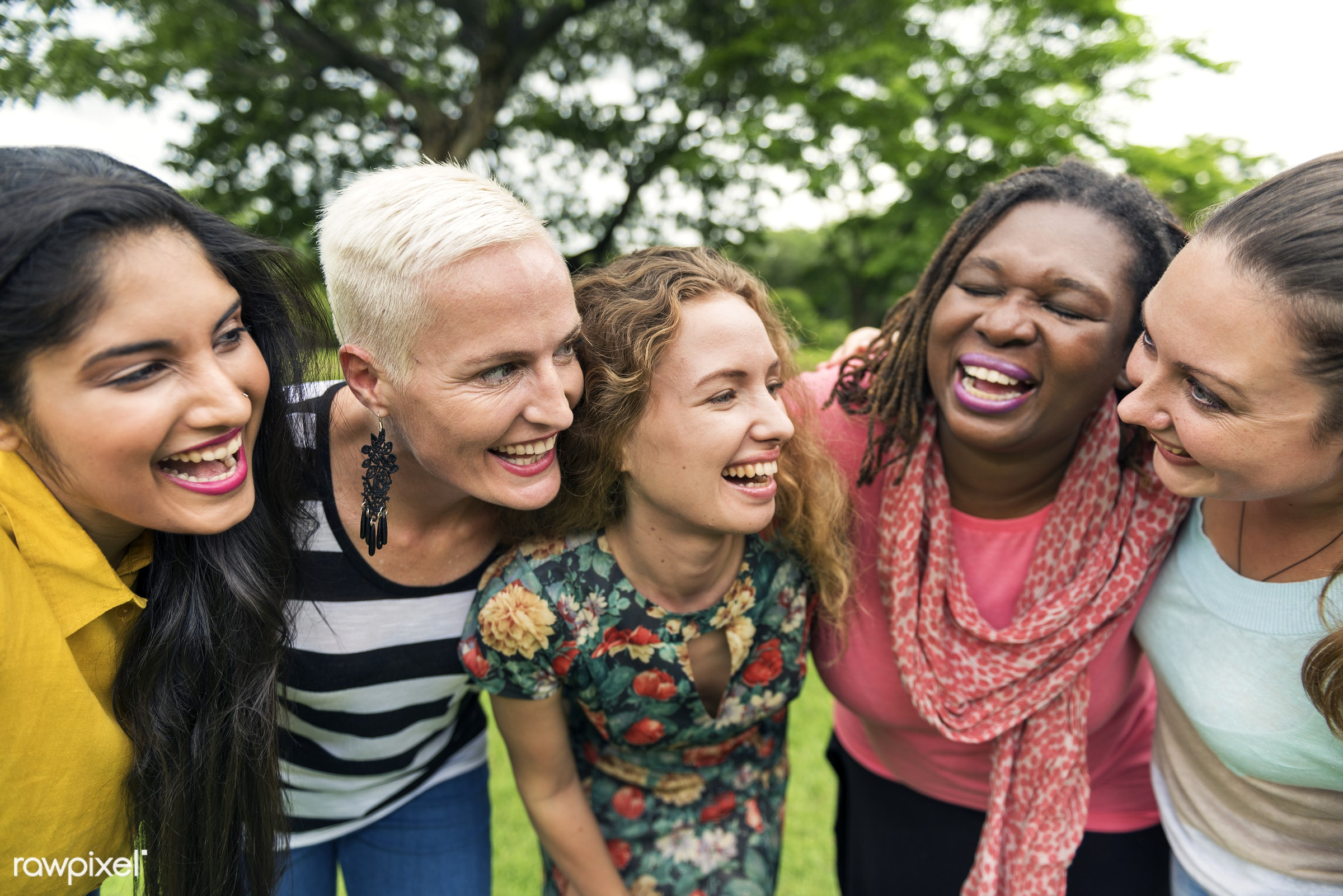 Friends having fun together - community, women, togetherness, happy, woman, lady, indian, group, friendship, african descent...