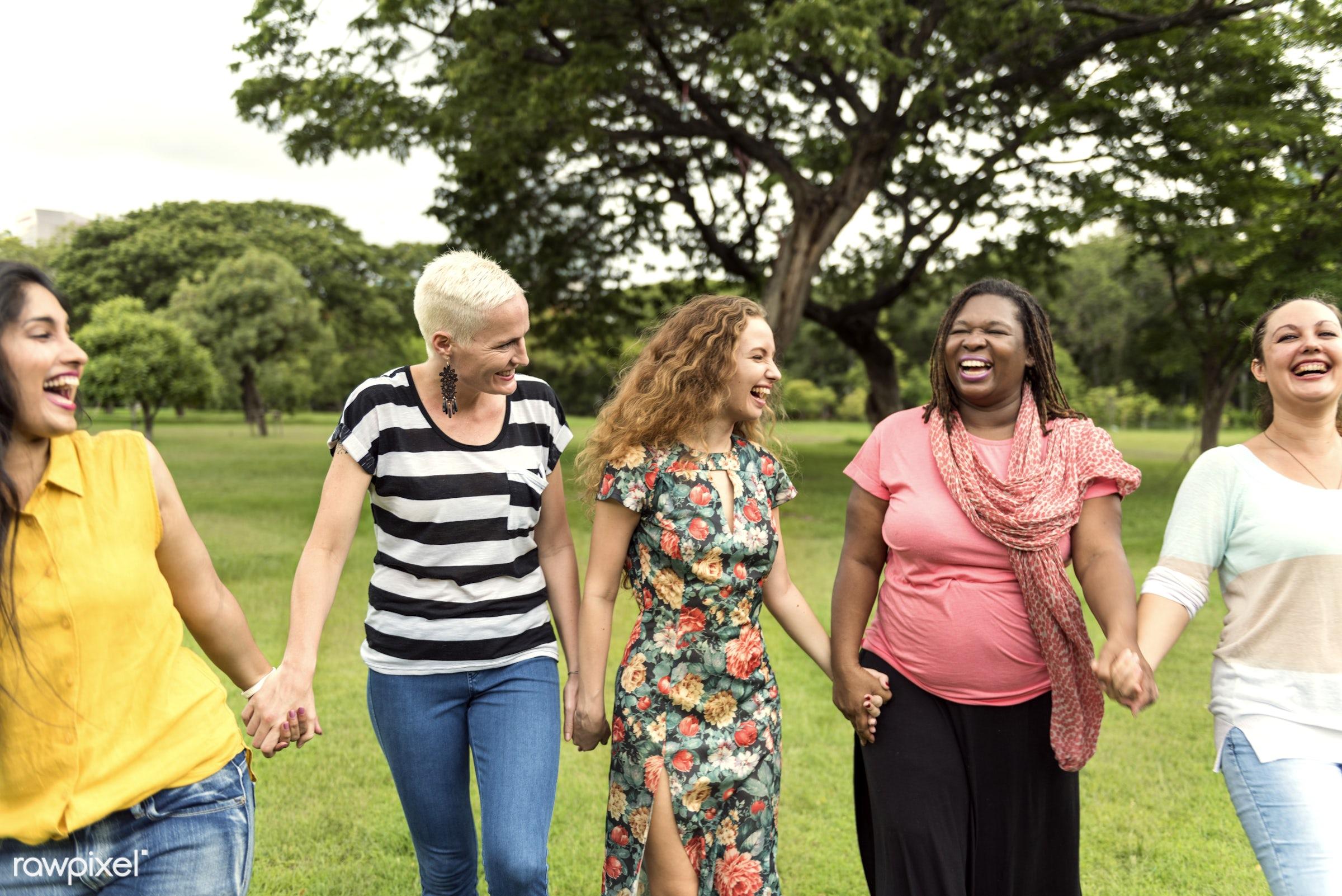 Friends having fun in park - integration, african descent, belonging, better together, casual, celebration, come together,...