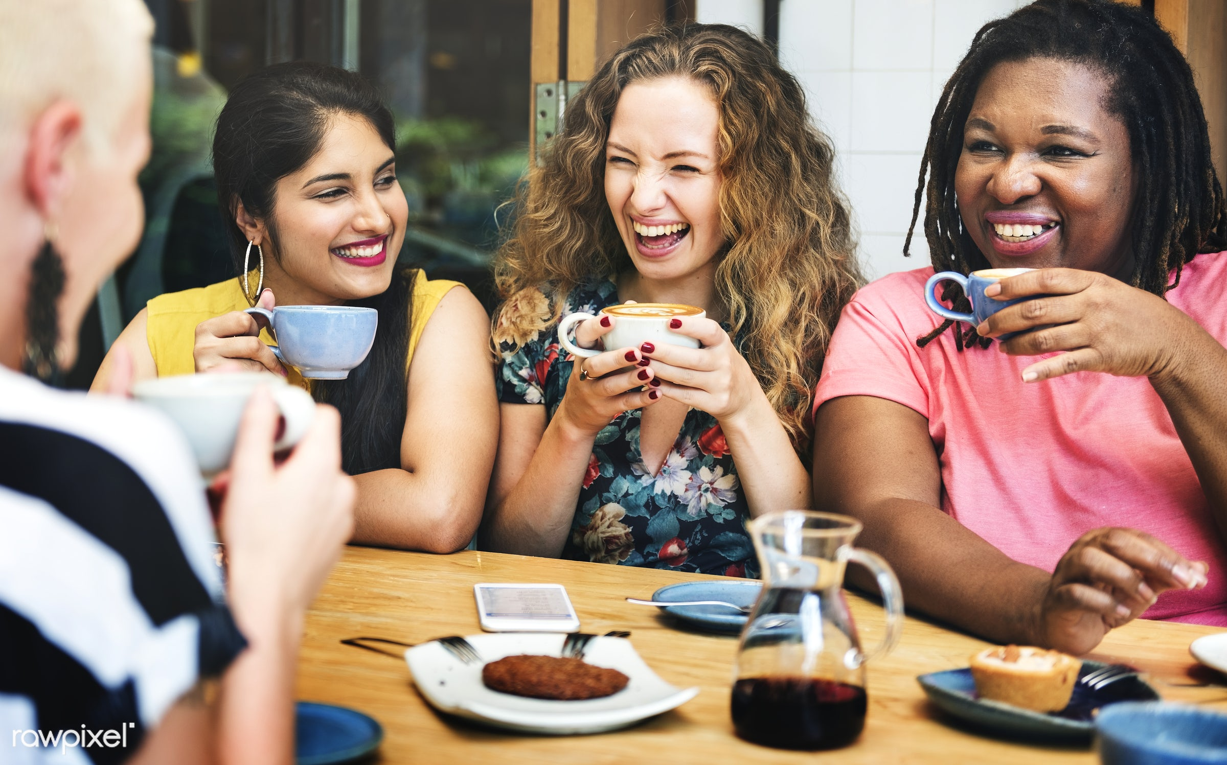 coffee shop, african descent, afternoon tea, bonding, bright, cafe, casual, cheerful, coffee, coffee break, coffee time,...