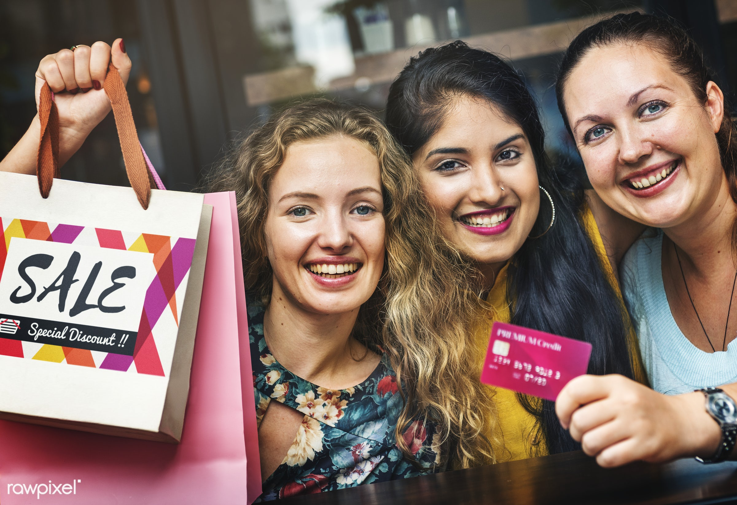 Women shopping with a credit card - big sale, bonding, bright, buying, casual, cheap, cheerful, commerce, credit card,...