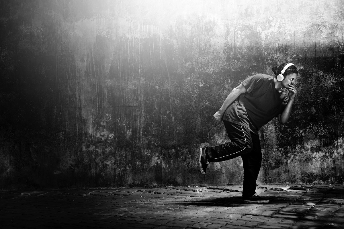 Person gesture in running movement grayscale
