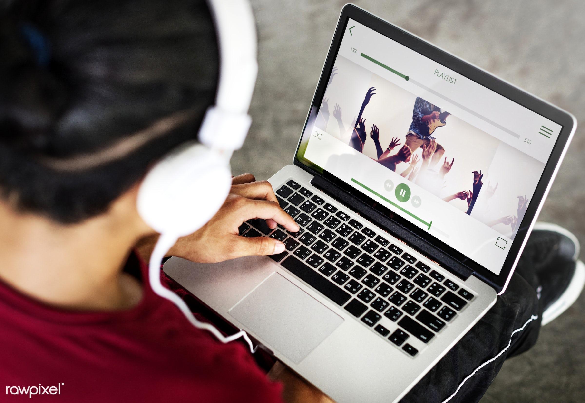 app, application, asian, boy, casual, cheerful, connection, digital, earphones, electronic, enjoying, entertainment, fashion...