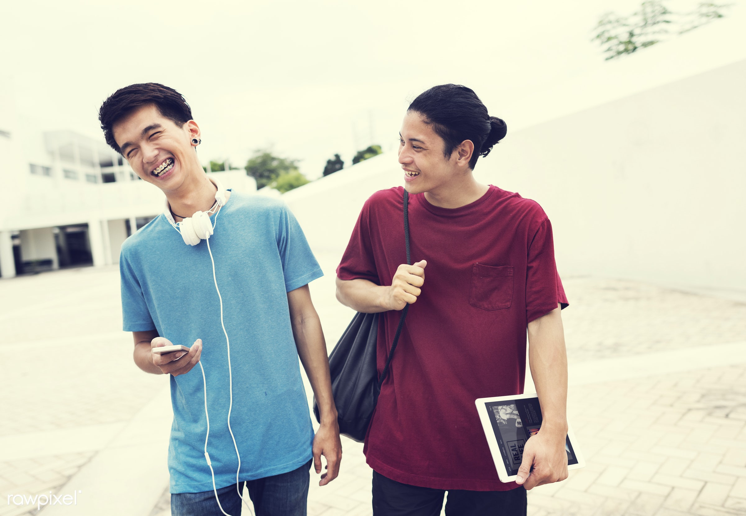 college, adults, asian, background, bag, best friends, boys, casual, cellphone, cheerful, electronic, friends, friendship,...