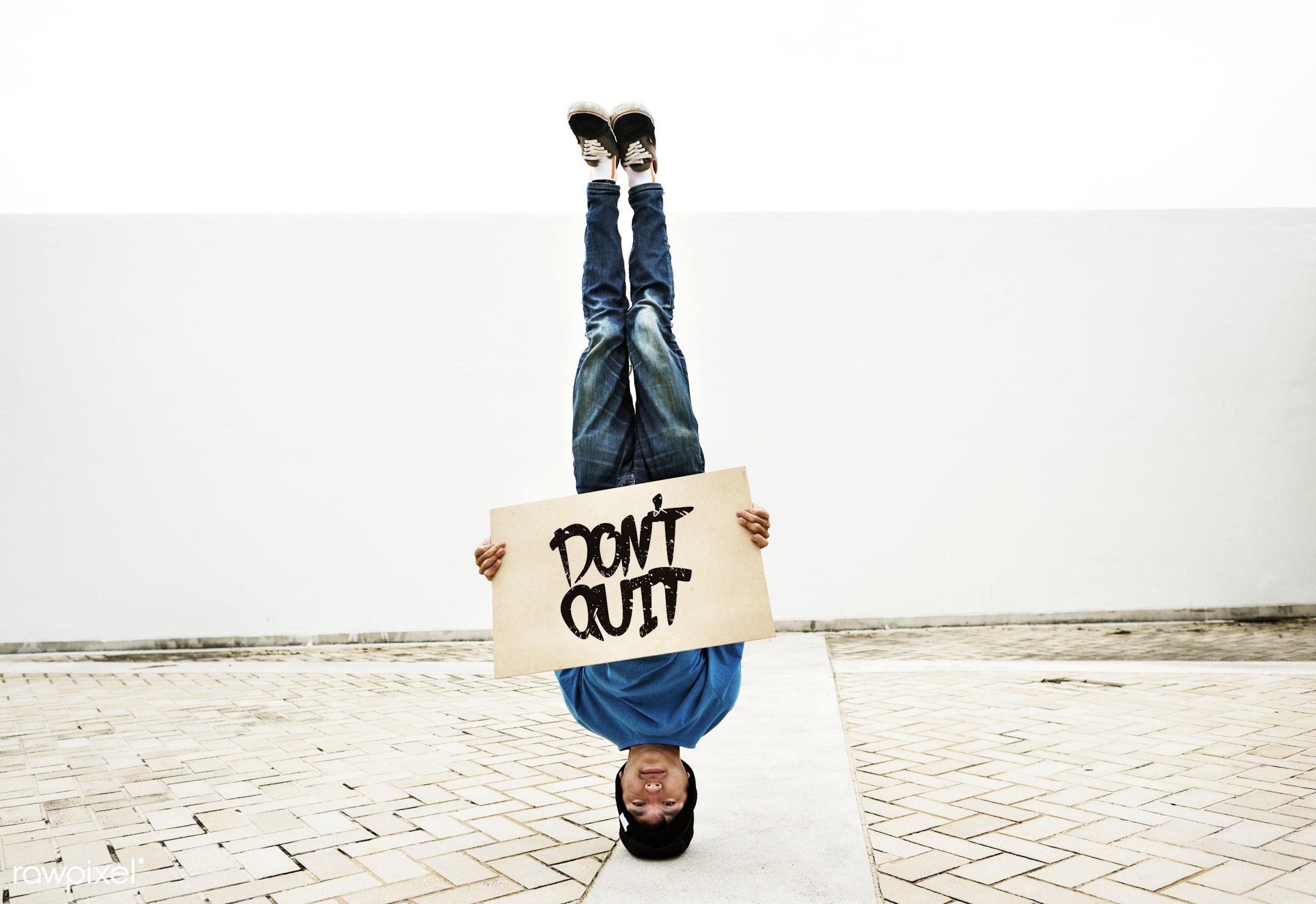 Young man breakdancing - dance, stop, lifestyle, inspiring, fun, announcement, asian, b-boying, believe in yourself, boy,...