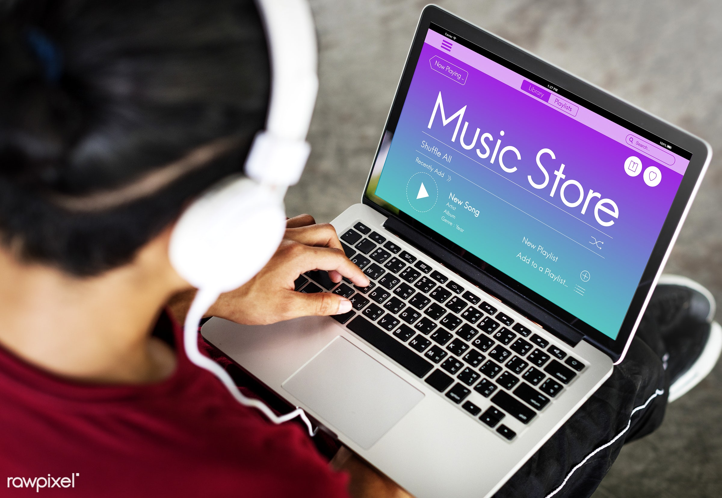Online music store - application, audio, browse, browsing, connect, connection, enjoyment, entertainment, fun, graphic,...