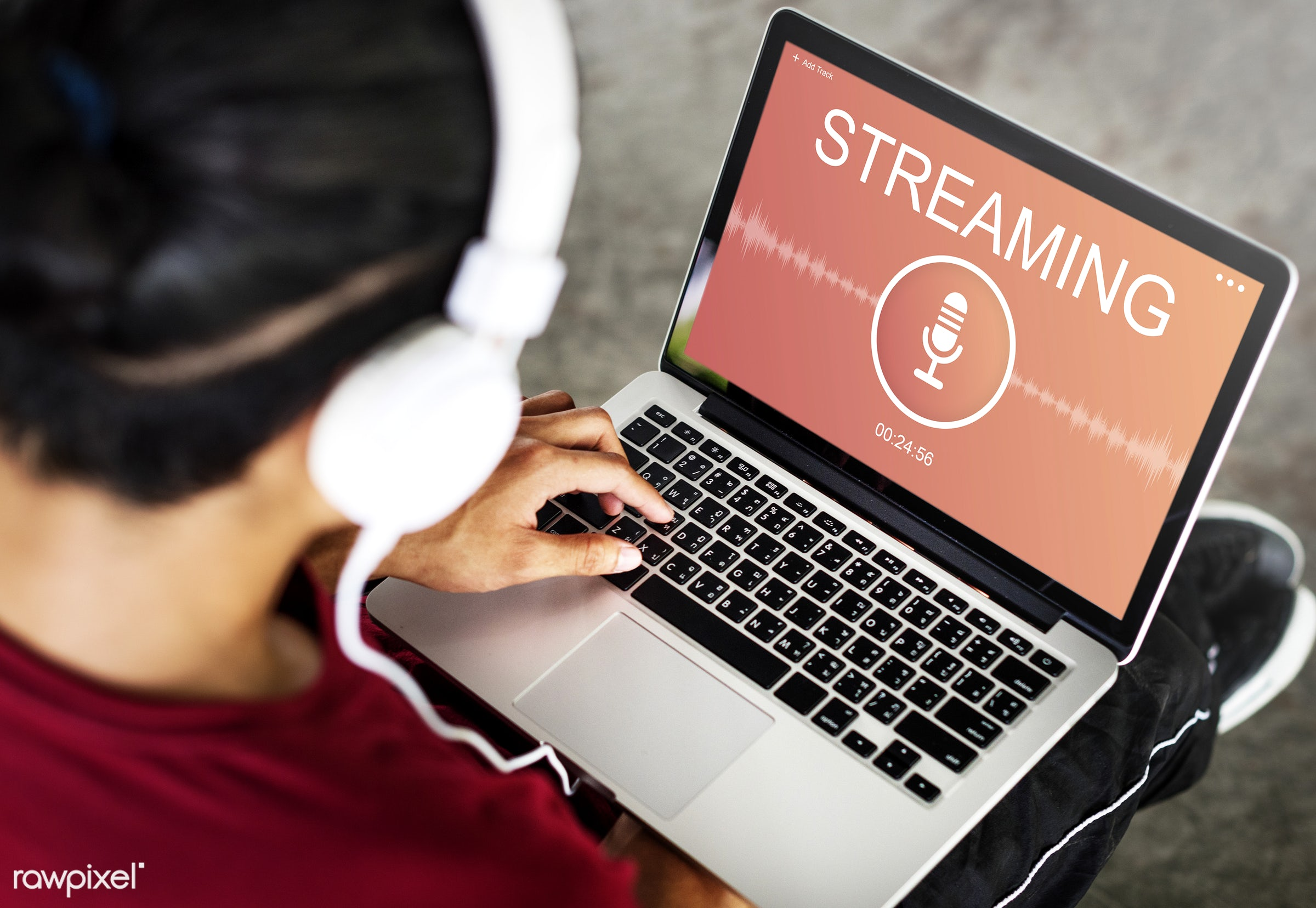 Online audio streaming - browse, browsing, connect, connection, headphones, laptop, lifestyle, listen, listening, media,...