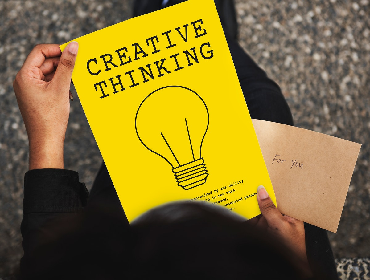 Aerial view of creative thinking paper