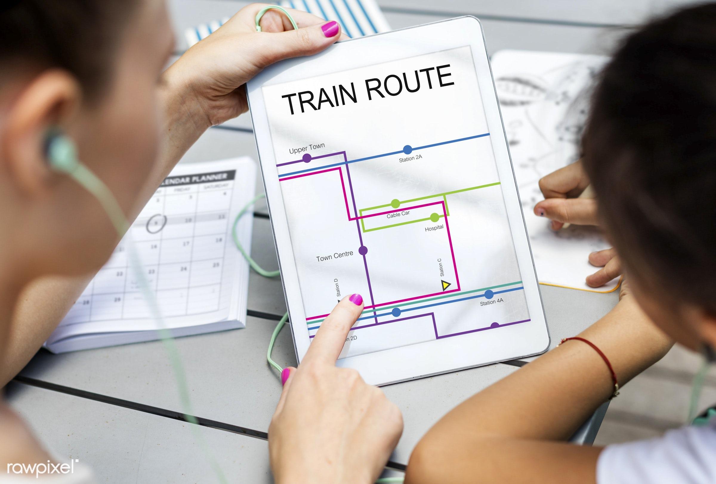 aganda, assistance, bus, bus route, calendar, destination, digital, digital device, digital tablet, direction, discovery,...
