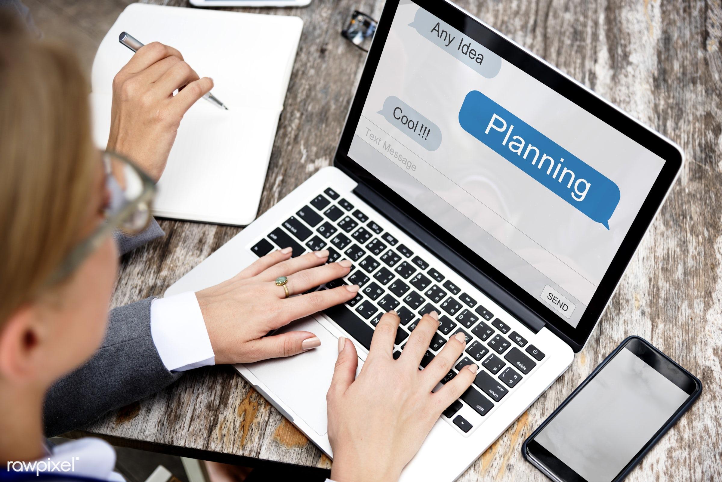 Online business planning - businessperson, accounting, brainstorming, business, businesspeople, businesswoman, businesswomen...