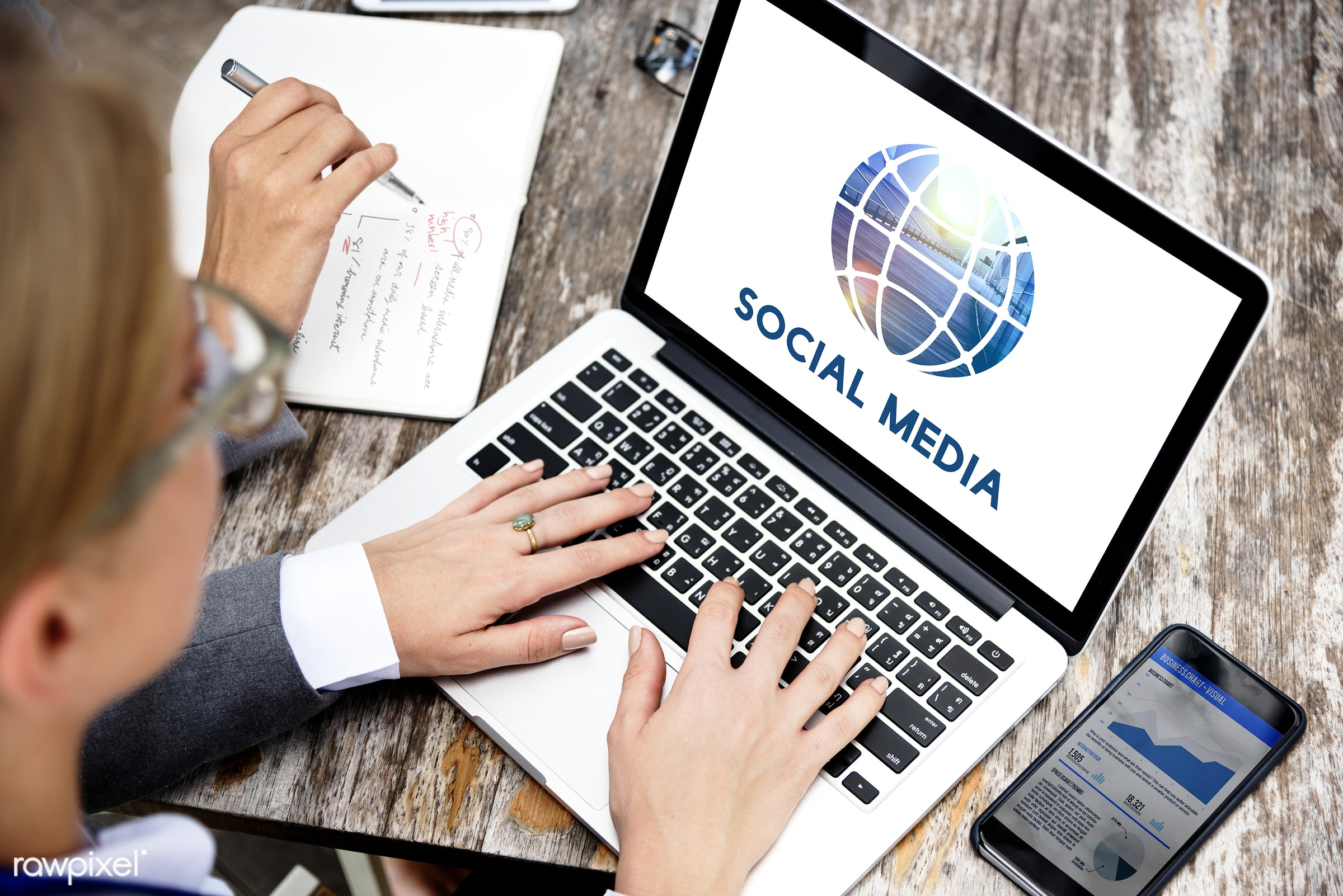 Business and social media - blogging, business, businesswoman, businesswomen, communication, community, concept, connection...