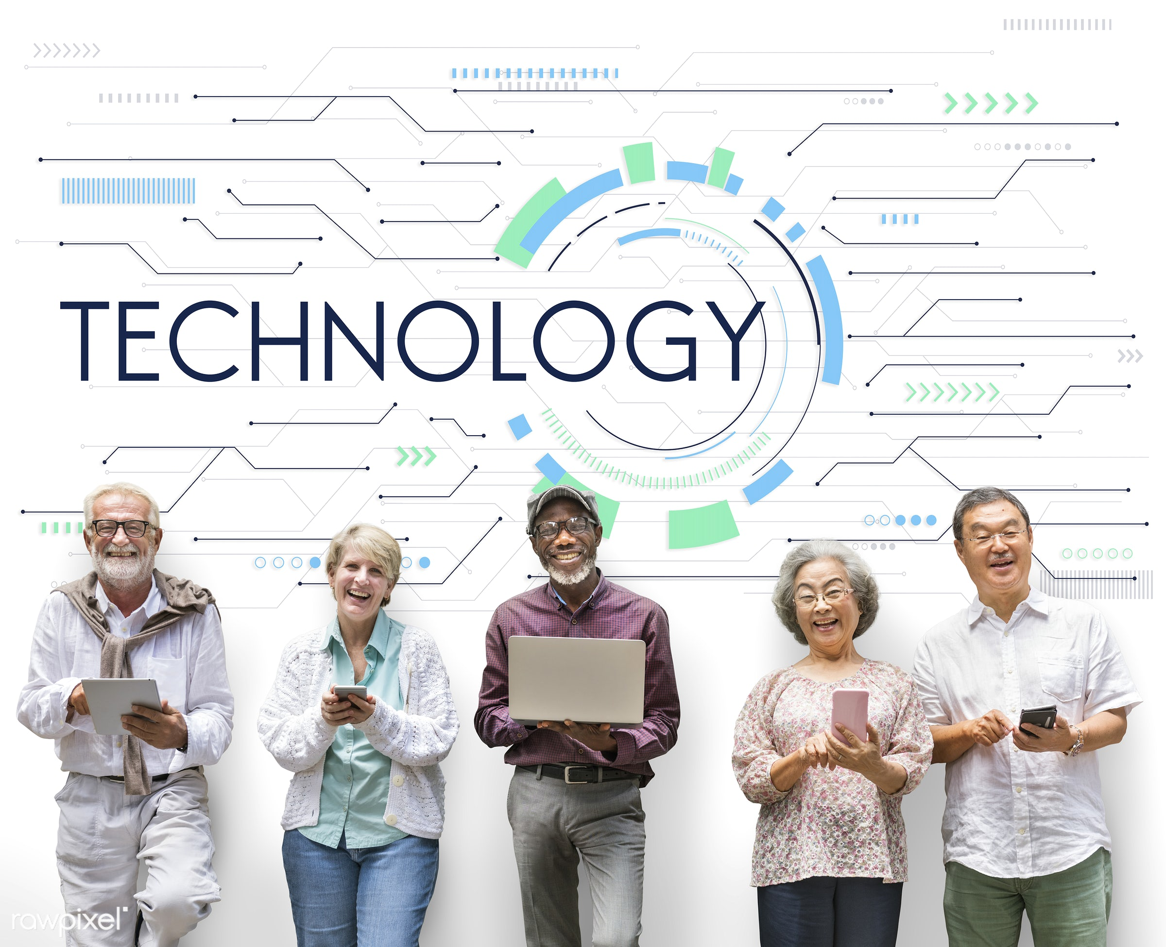 Senior adults and technology - website, software, connect, internet, senior, adult, african american, asian, caucasian, cell...