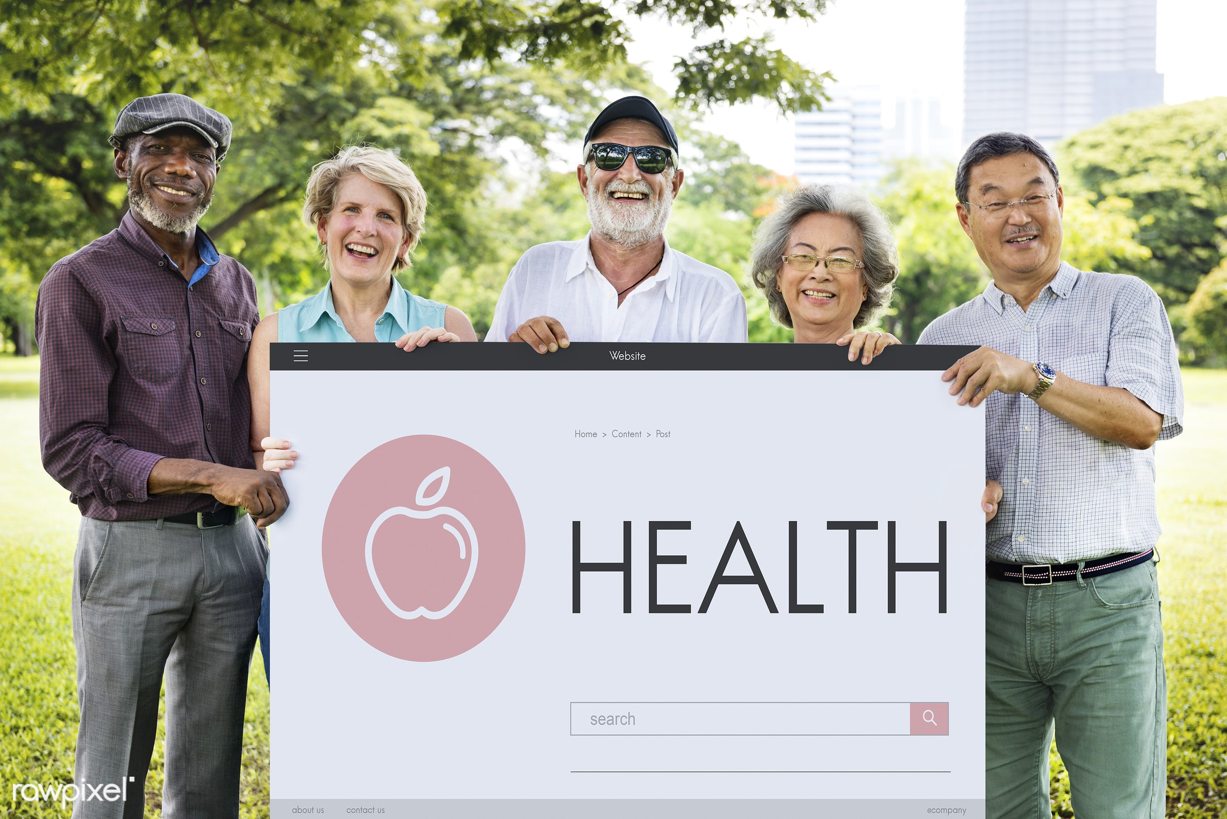 Senior healthcare - showing, african descent, asian, asian ethnicity, banner, board, brochure, casual, checkup, diverse,...
