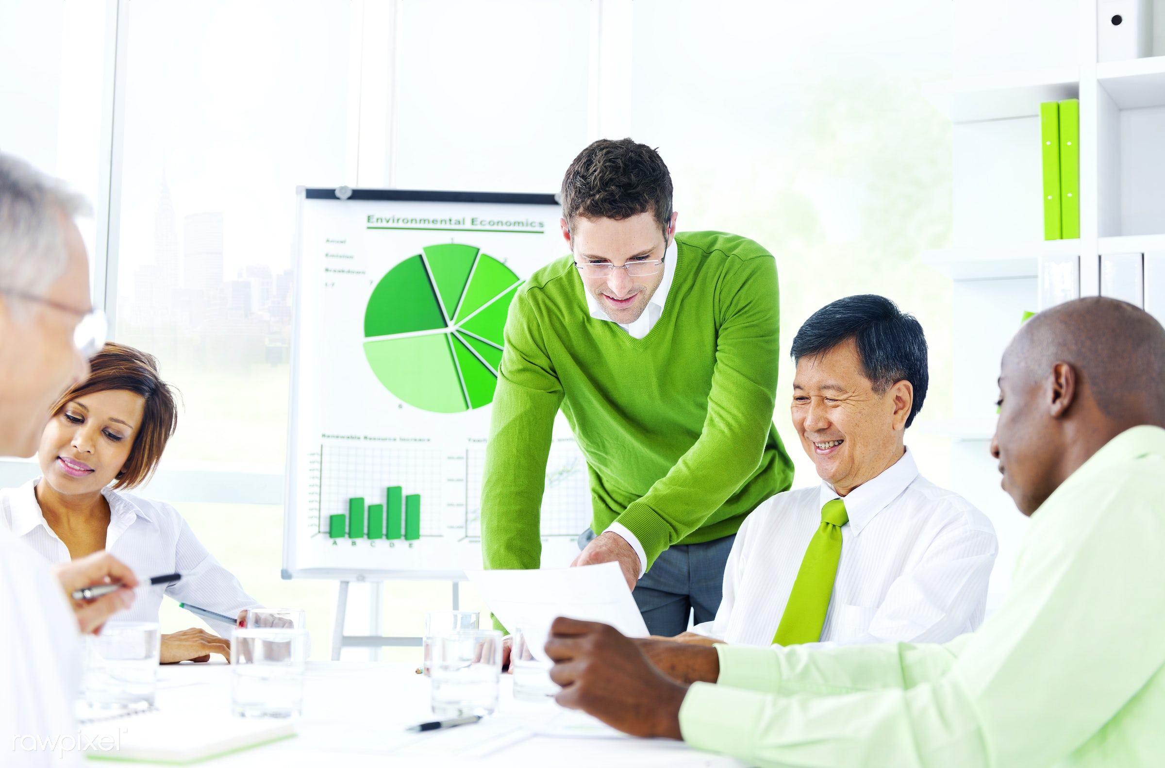 Business people working in a green office - adult, african descent, asian ethnicity, brainstorming, built structure,...