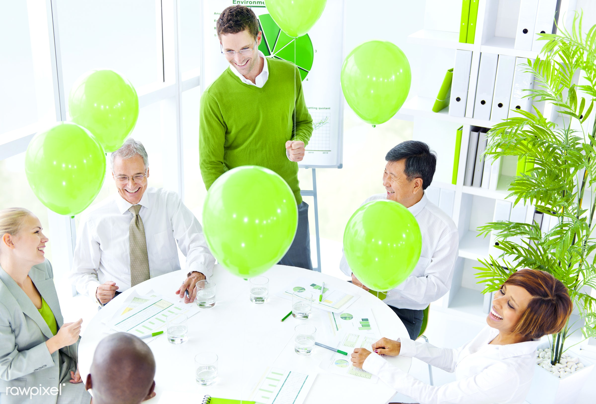 Business people working in a green office - business, balloon, businessman, meeting, adult, african descent, asian ethnicity...