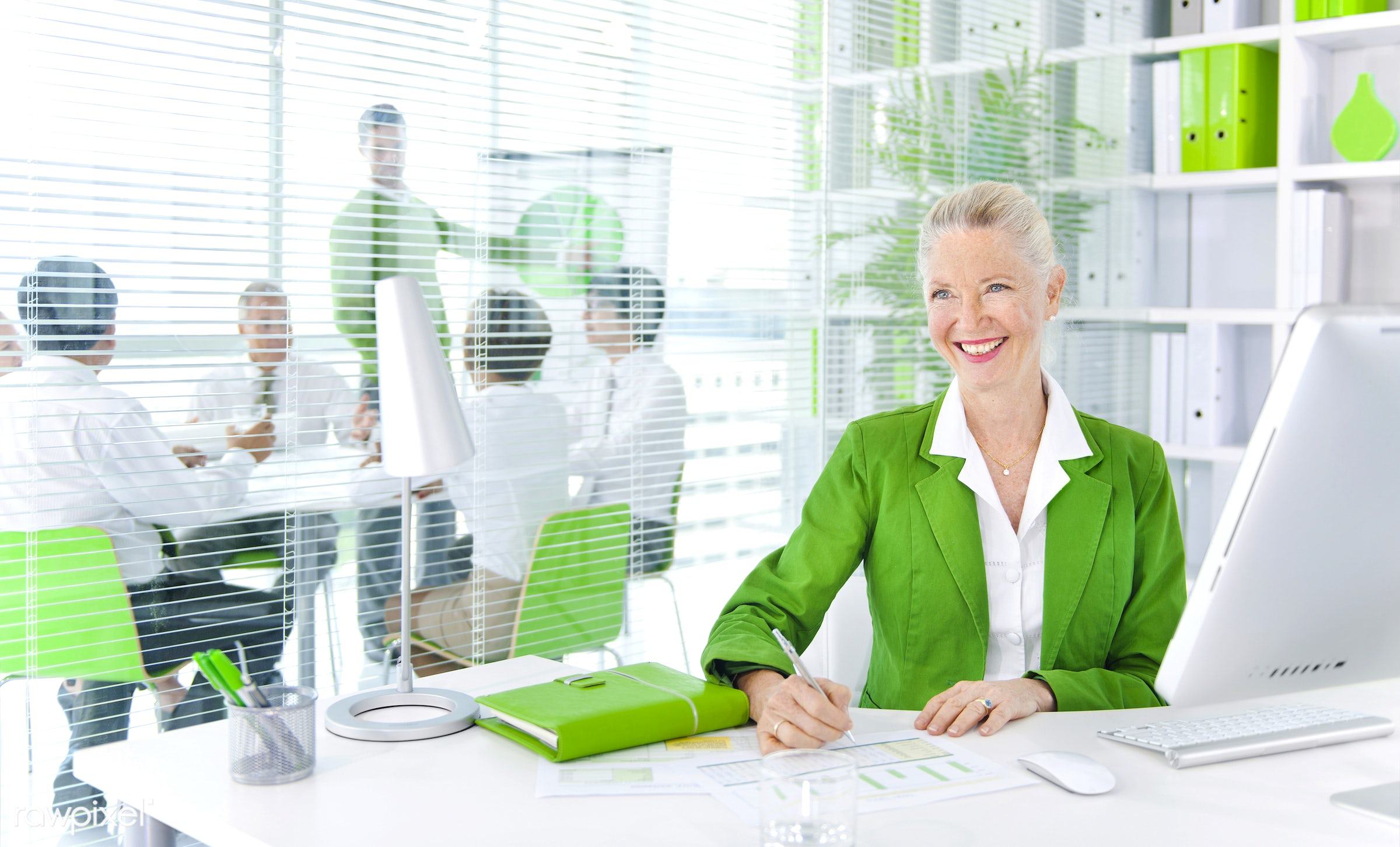 Business people working in a green office - ceo, adult, african descent, asian ethnicity, brainstorming, business, business...