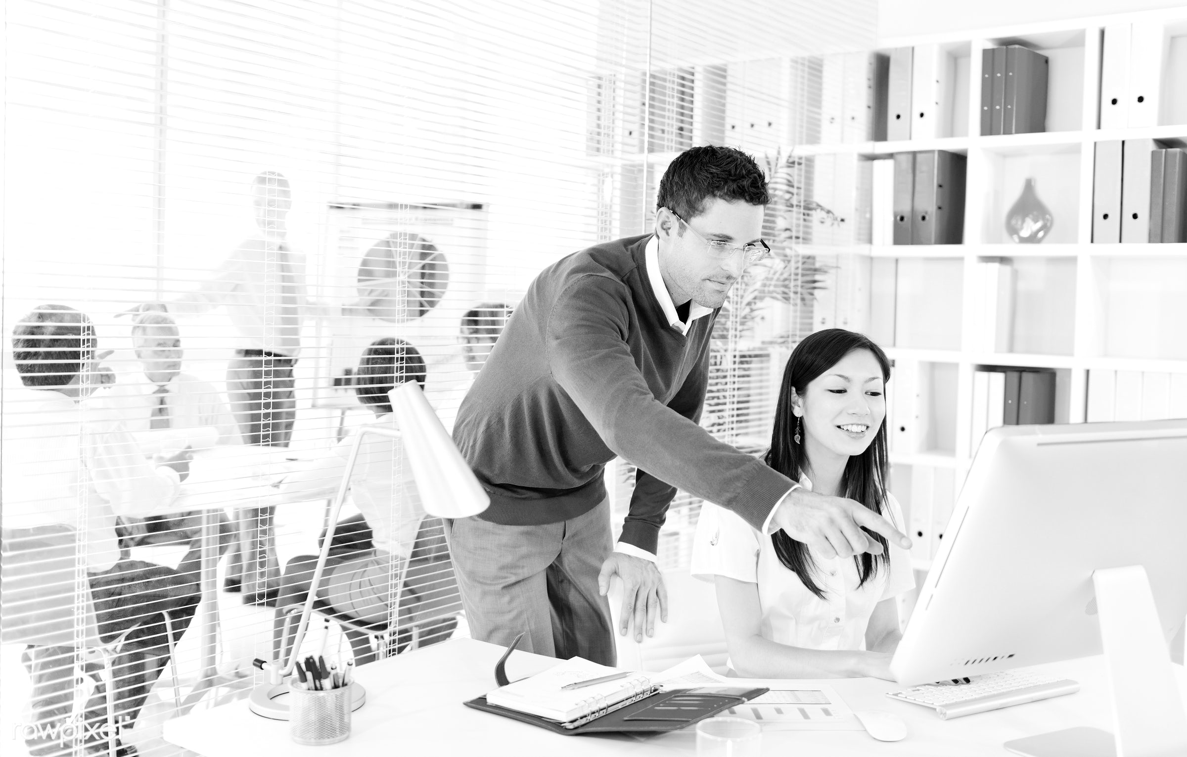Business people working in a green office - business, technology, presentation, adult, african descent, asian ethnicity,...