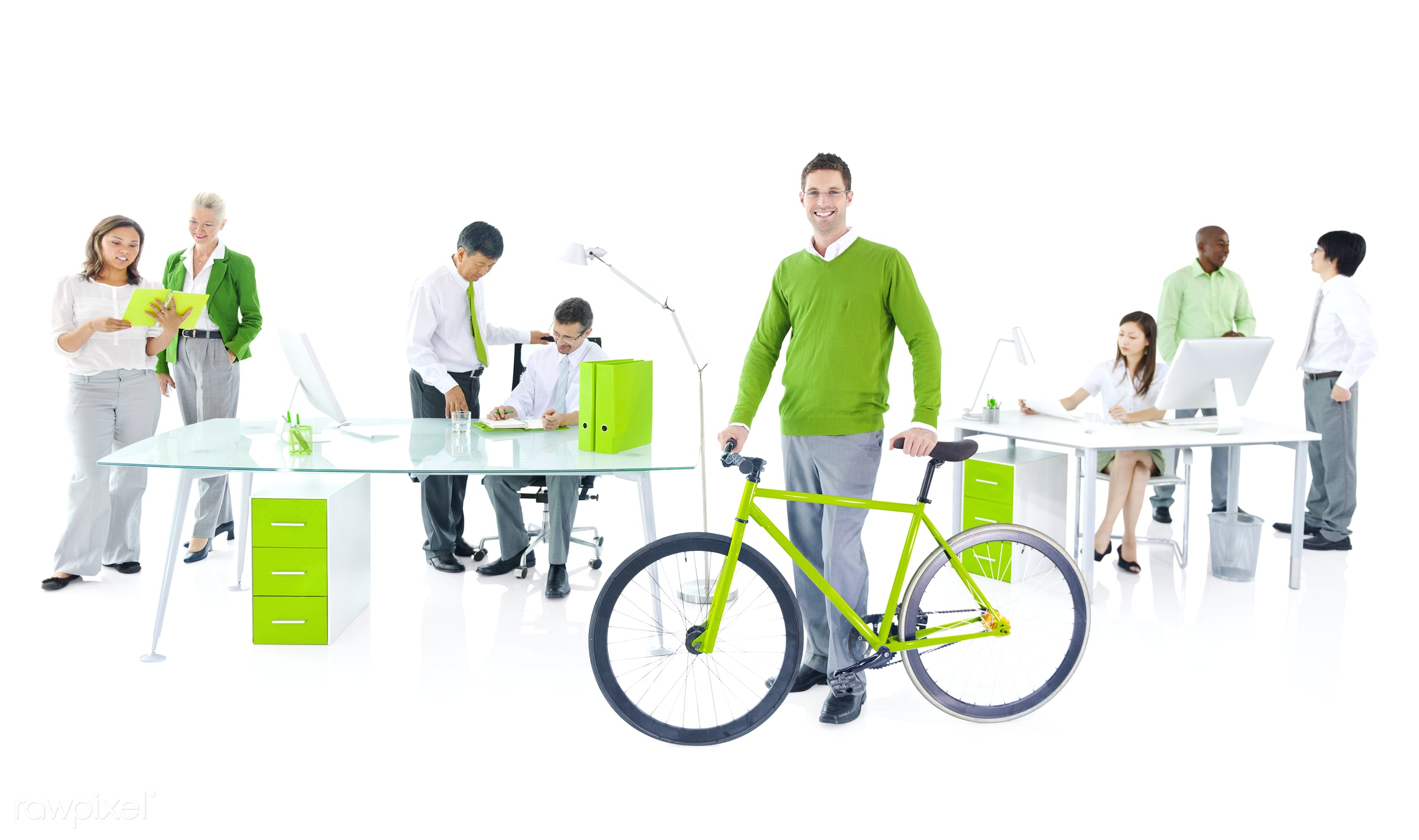 Businessman with a bicycle in a green office - adult, advice, african descent, asian ethnicity, assistant, bicycle,...