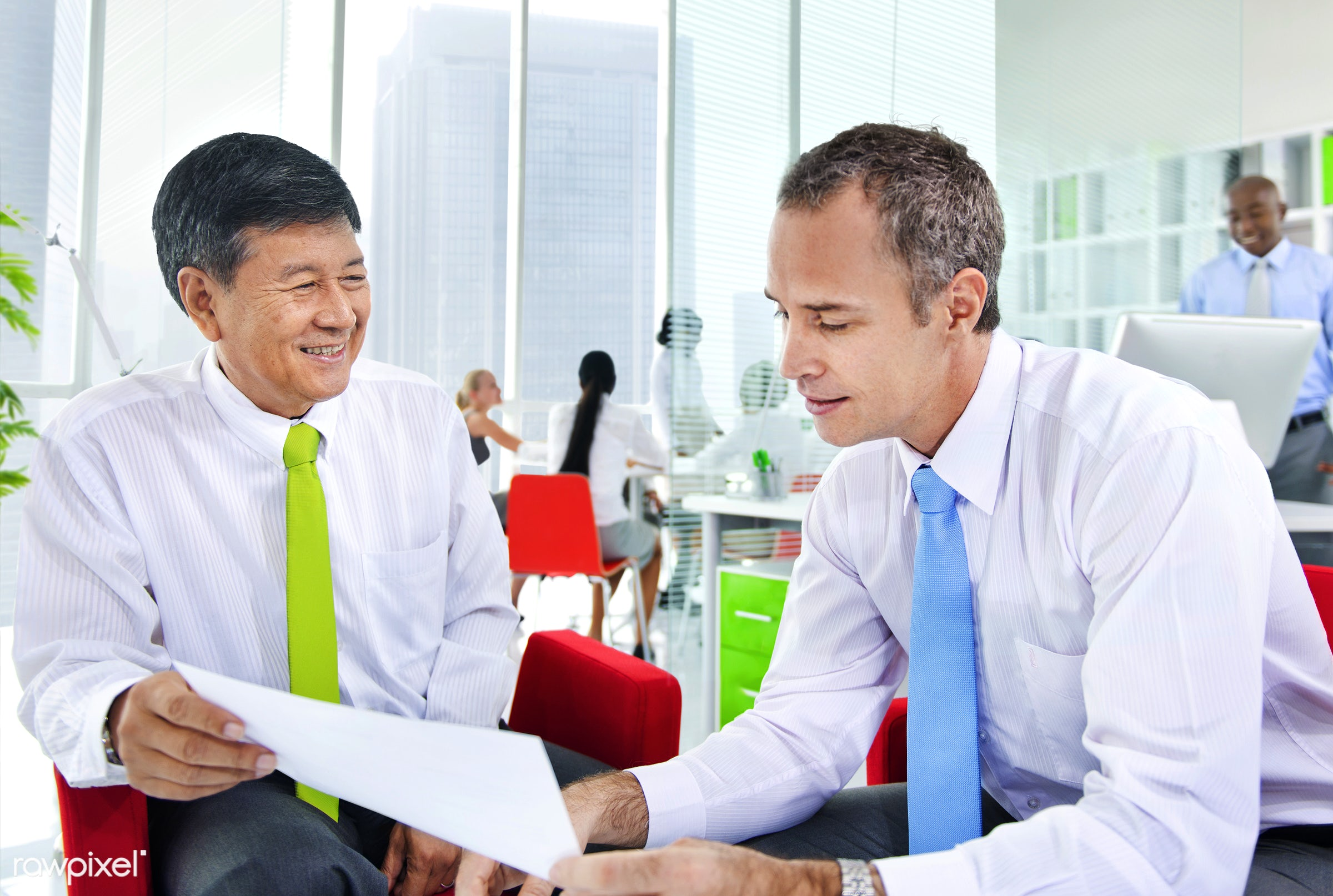 Business people working on a deal - adult, african descent, asian ethnicity, brainstorming, built structure, business,...