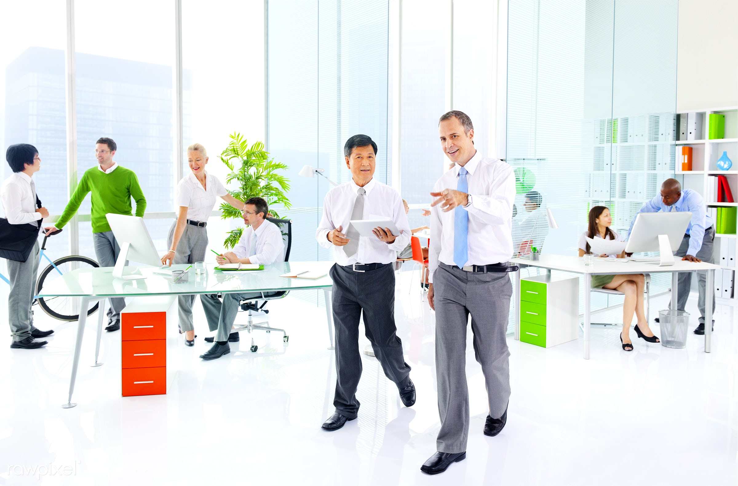 Business people working in a green office - adult, african descent, asian ethnicity, bicycle, brainstorming, business,...
