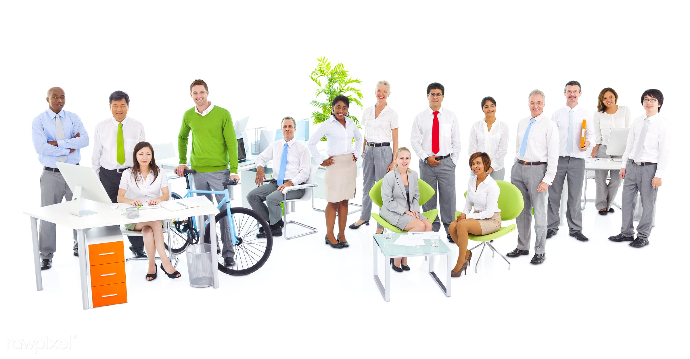 Business people working in a green office - adult, african descent, asian ethnicity, assistant, bicycle, brainstorming,...