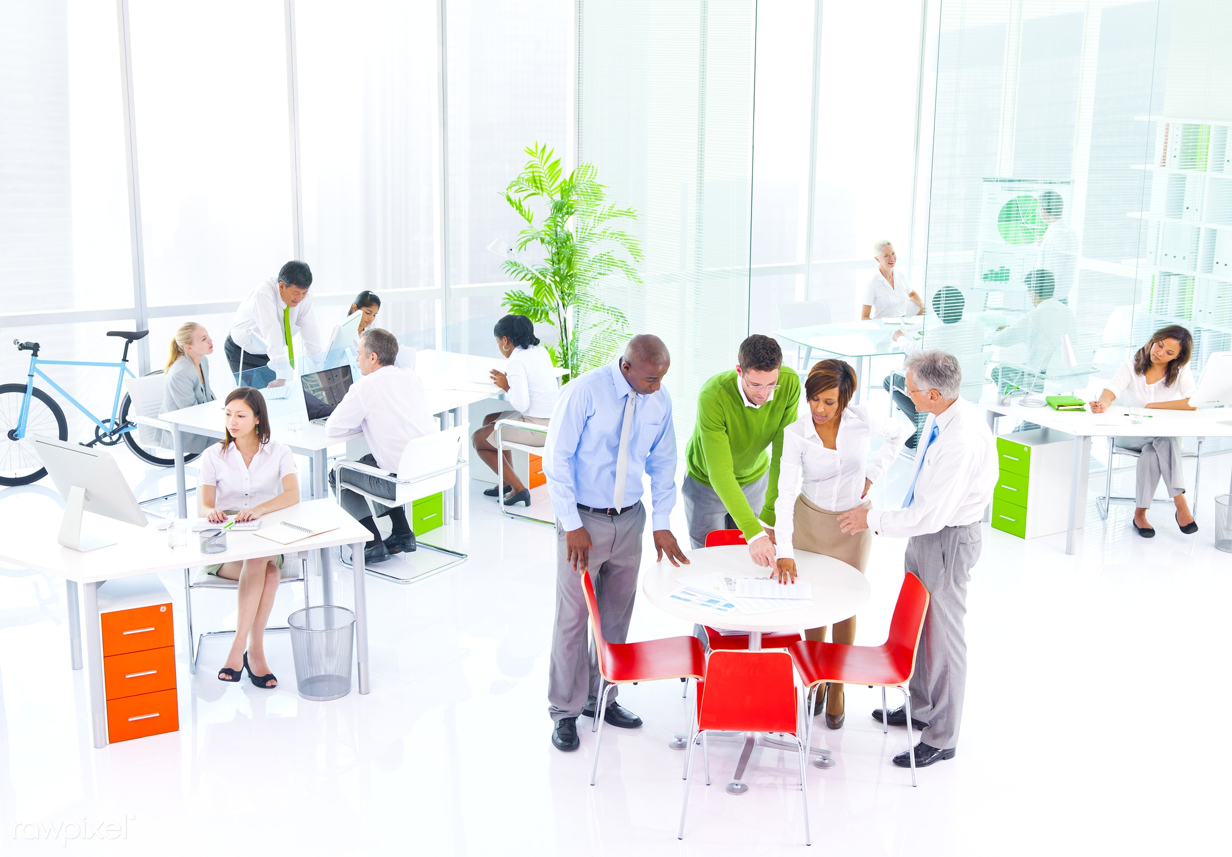 Business people working in a green office - business, meeting, green, workshop, togetherness, team, suit, office, management...