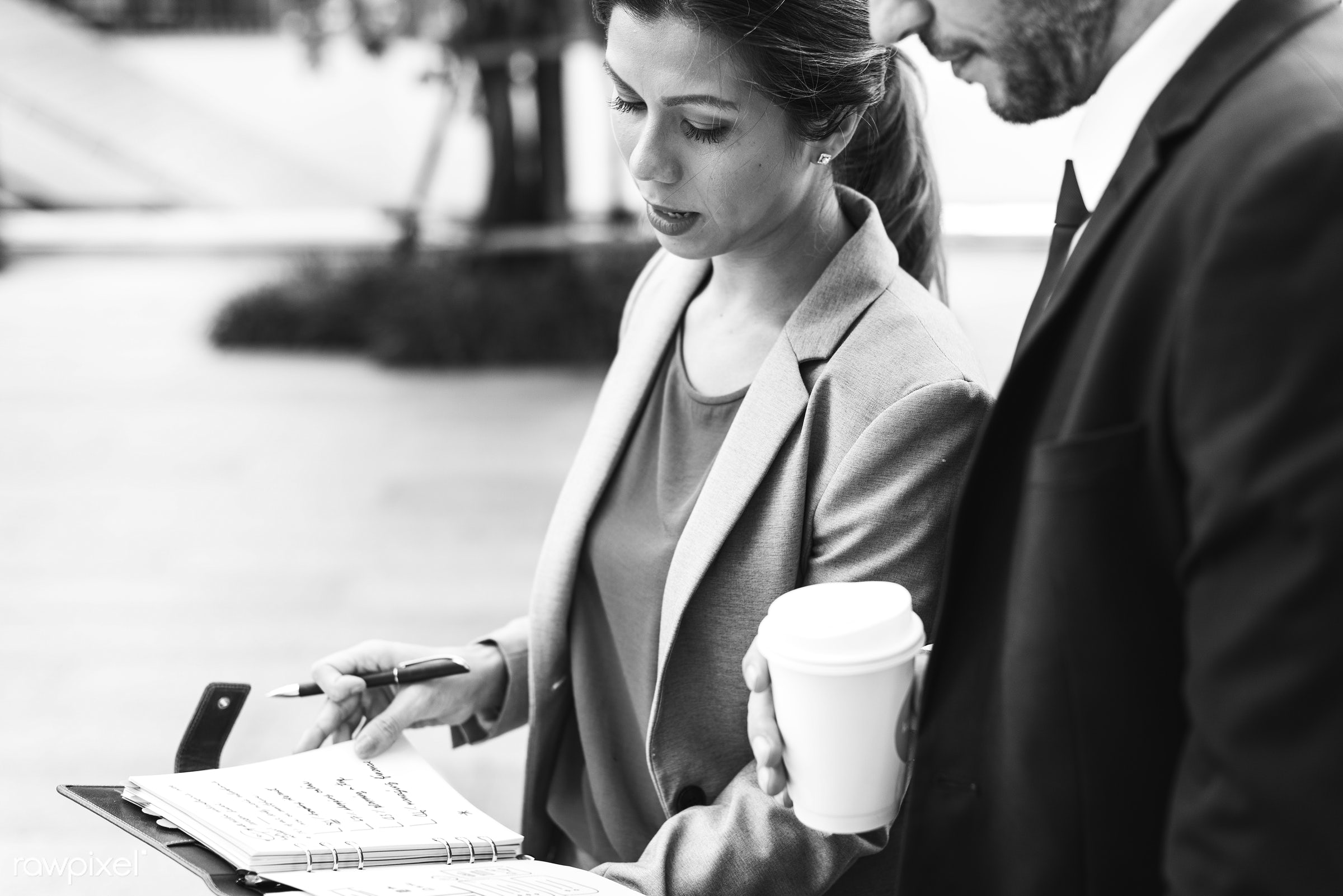 Business Corporate Partnership Office Worker Concept - business, woman, corporate, talking, group, couple, company,...