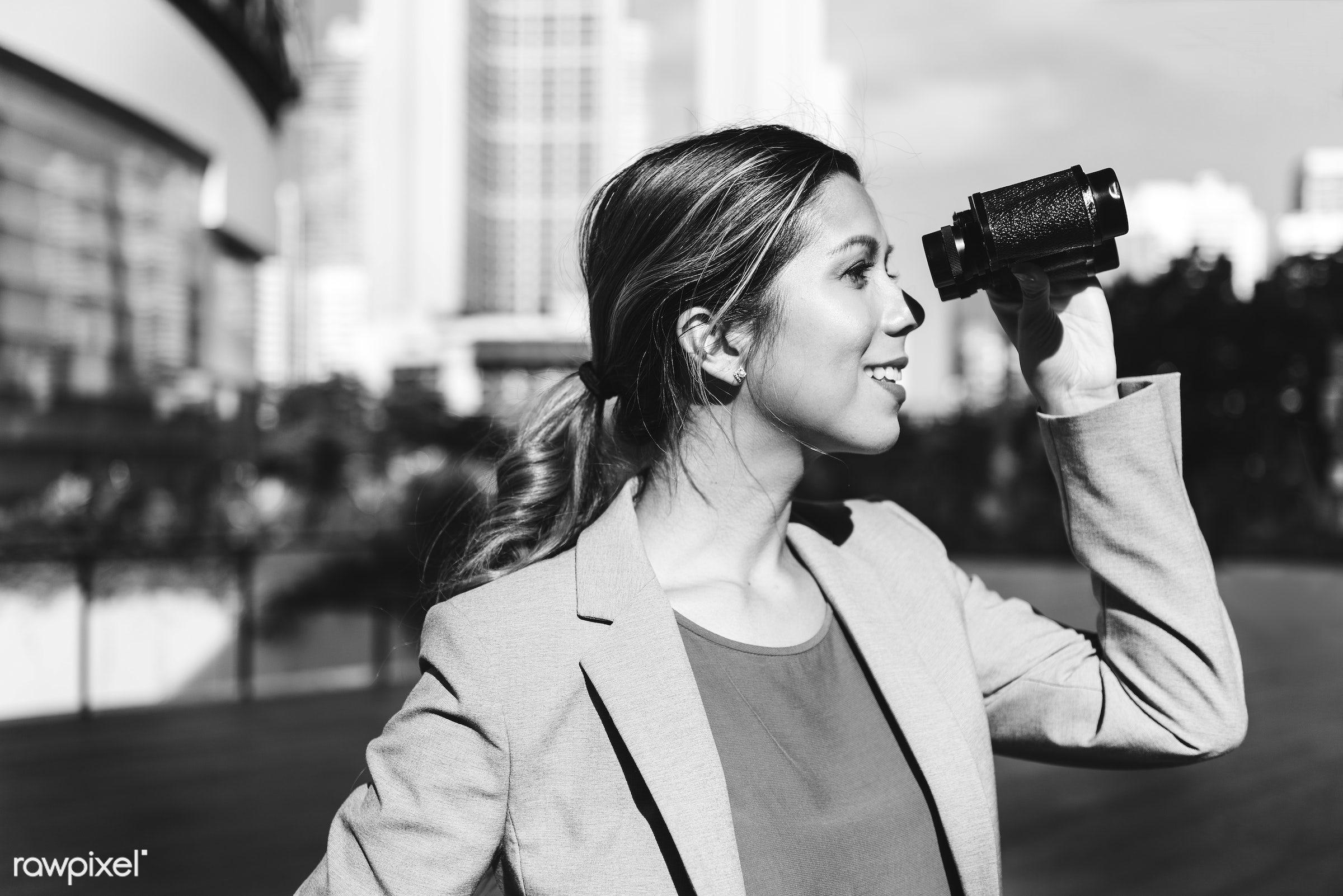 binocular, future, job, office, manager, businesswoman, telescope, look, observation, professional, happy, building,...